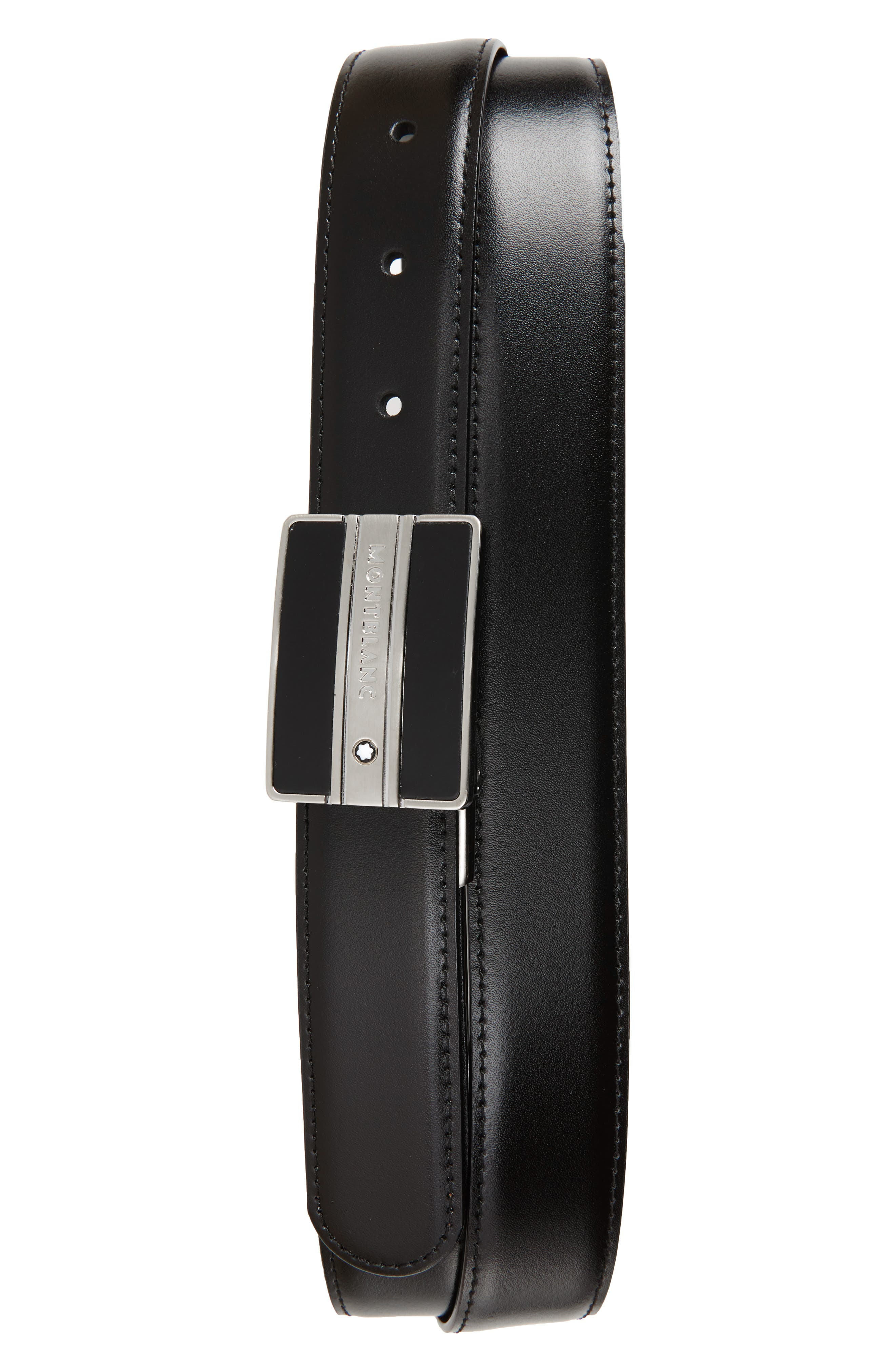 MONTBLANC, Meisterstück Buckle Reversible Leather Belt, Main thumbnail 1, color, BLACK/ BROWN
