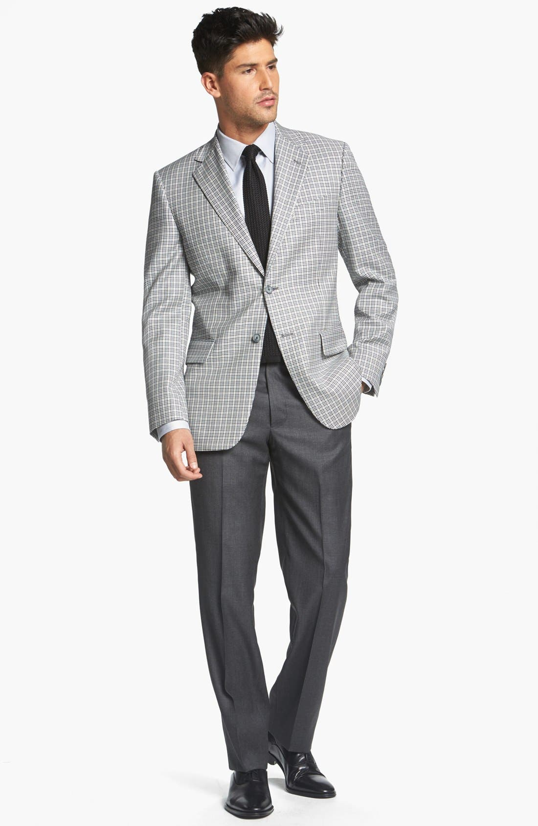 JOSEPH ABBOUD, 'Signature Silver' Check Wool & Silk Sportcoat, Alternate thumbnail 2, color, 400