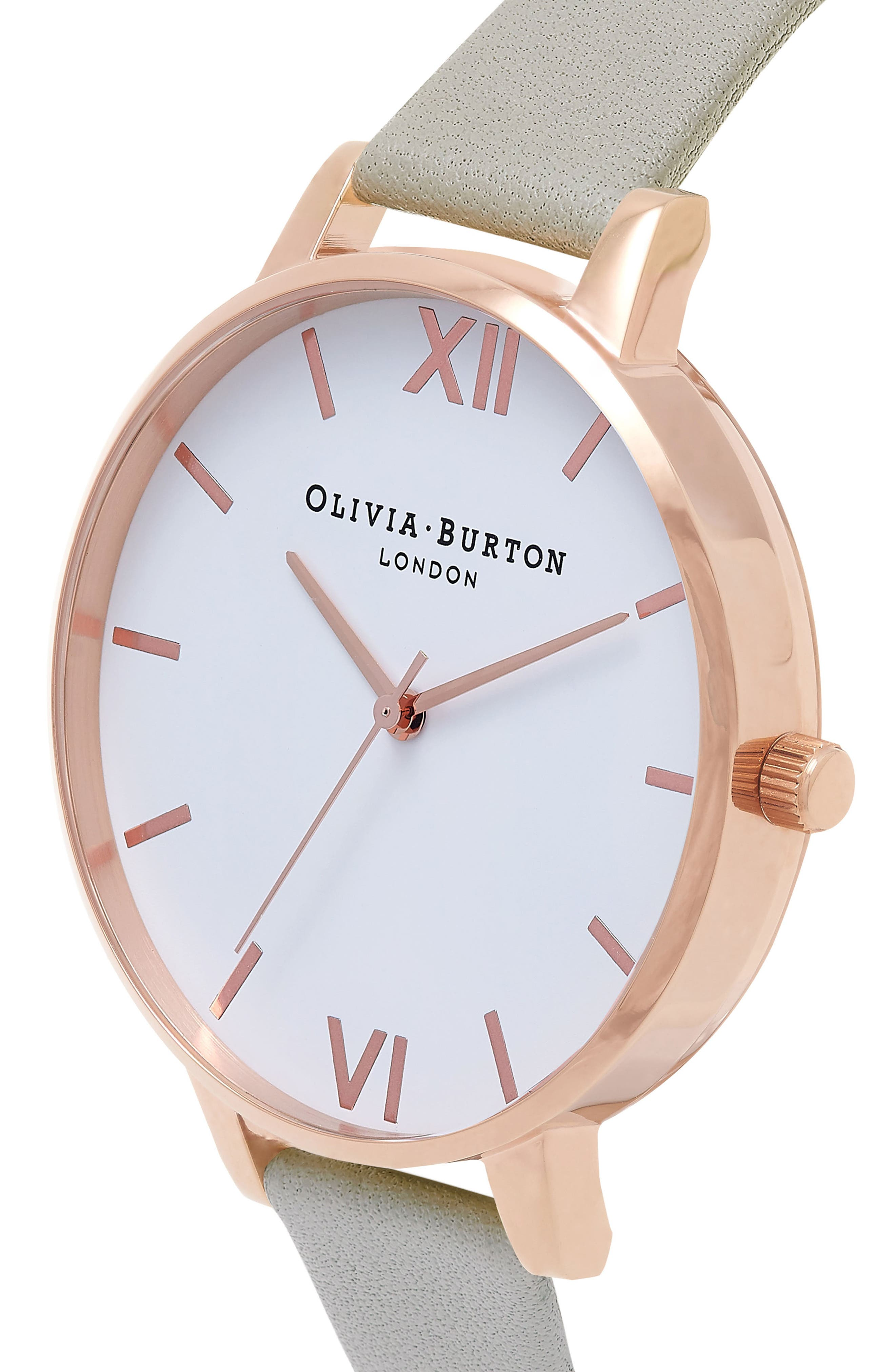 OLIVIA BURTON, Big Dial Leather Strap Watch, 38mm, Alternate thumbnail 4, color, GREY/ WHITE