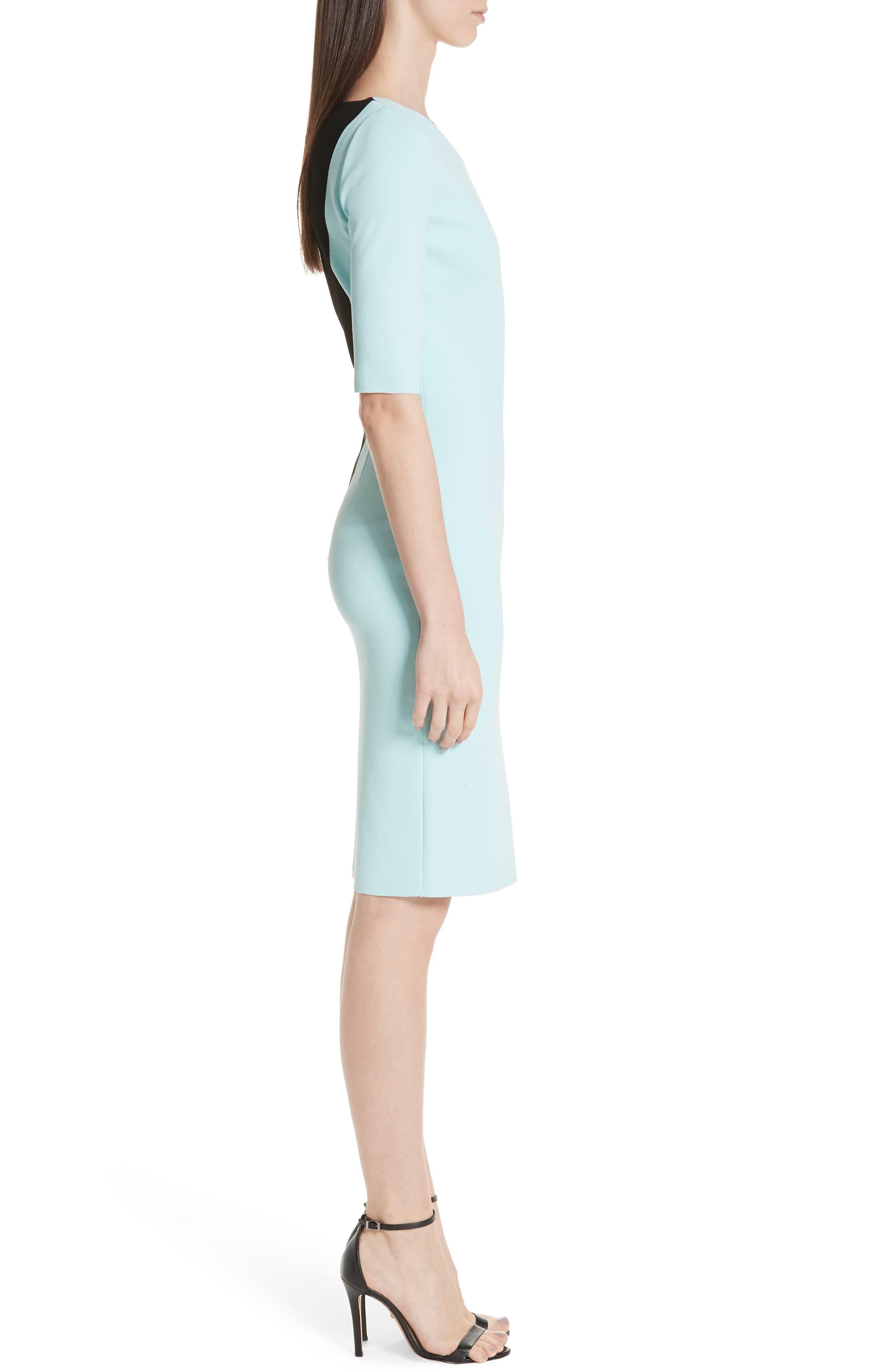 ST. JOHN COLLECTION, Luxe Sculpture Knit Dress, Alternate thumbnail 4, color, SEAFOAM/ CAVIAR