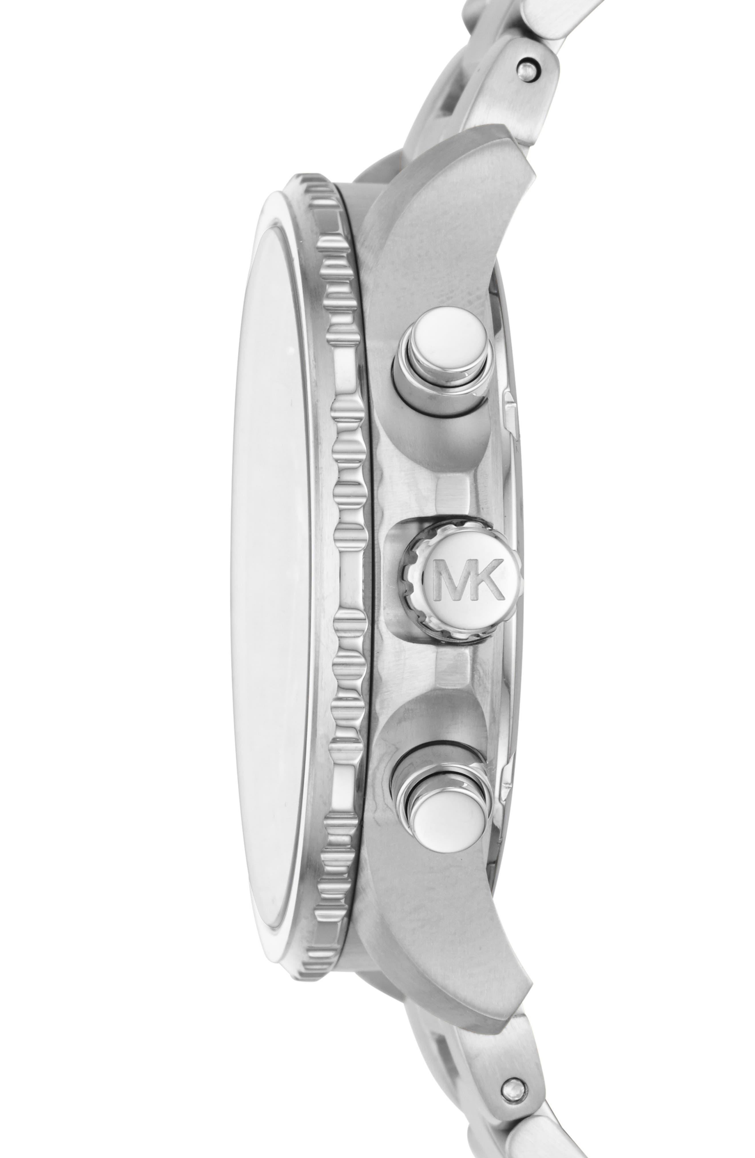 MICHAEL KORS, Theroux Bracelet Watch, 42mm, Alternate thumbnail 2, color, SILVER/ BLUE/ SILVER