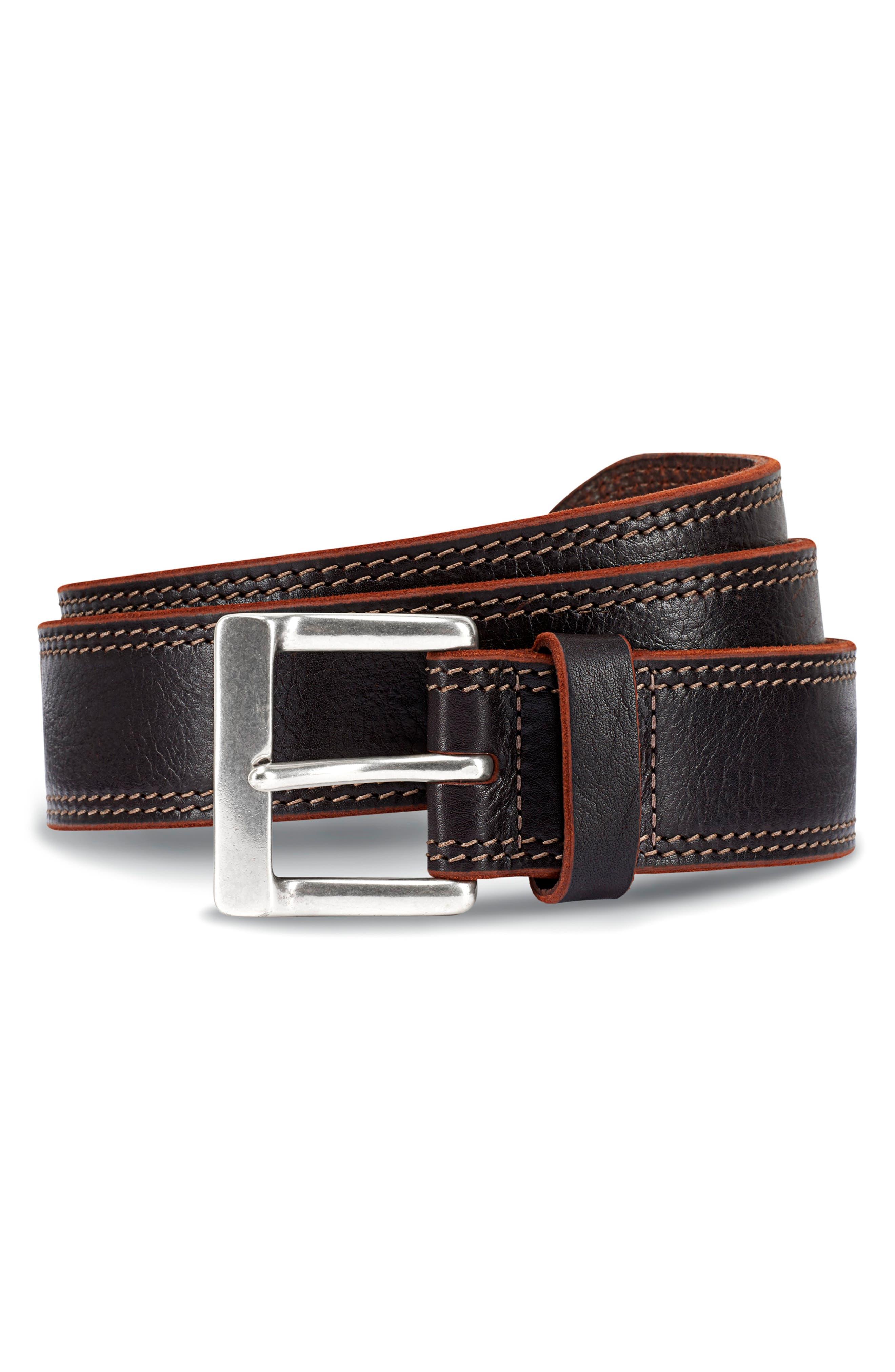 ALLEN EDMONDS Quay Avenue Leather Belt, Main, color, DARK BROWN