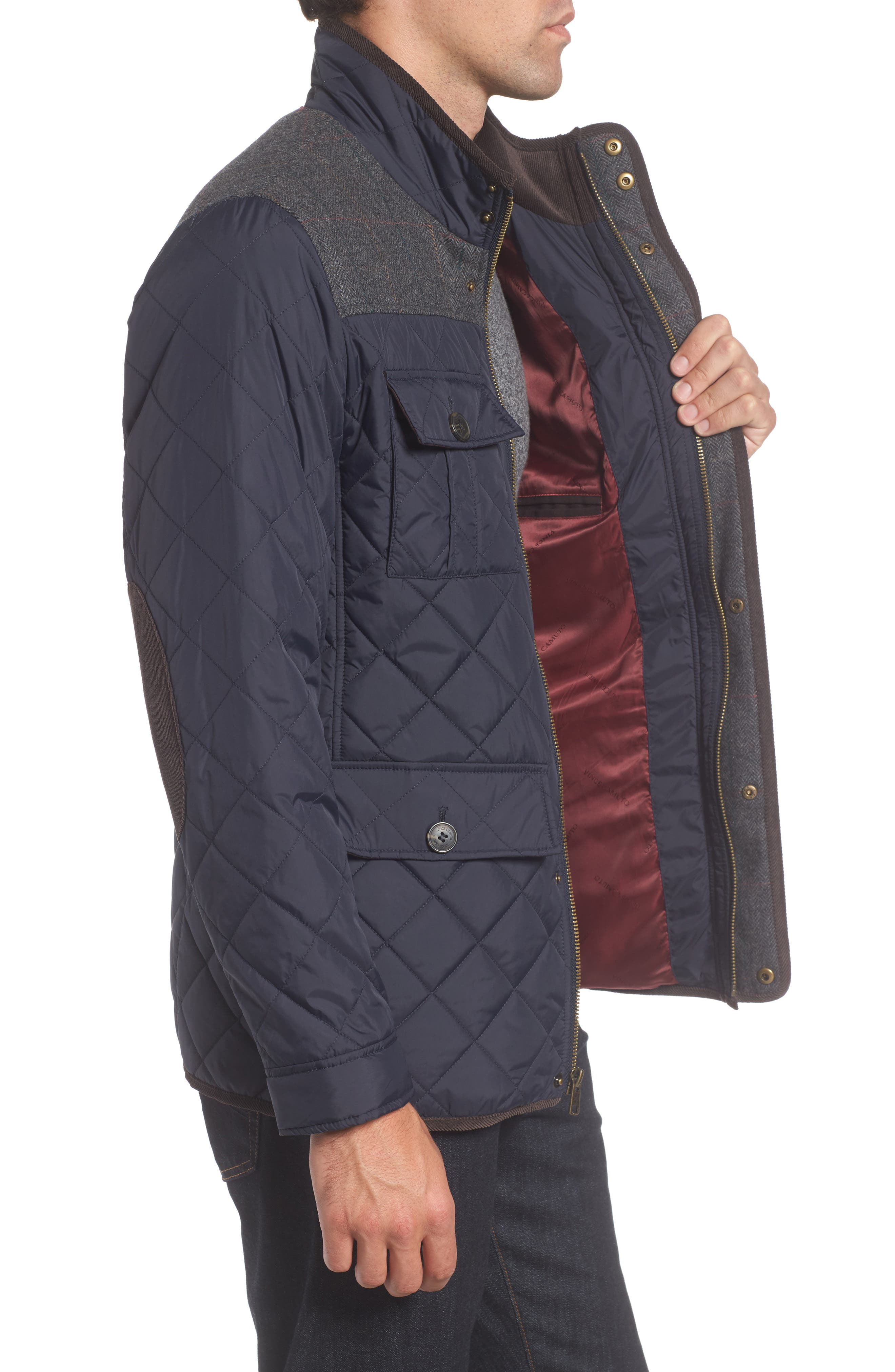 VINCE CAMUTO, Diamond Quilted Full Zip Jacket, Alternate thumbnail 5, color, NAVY
