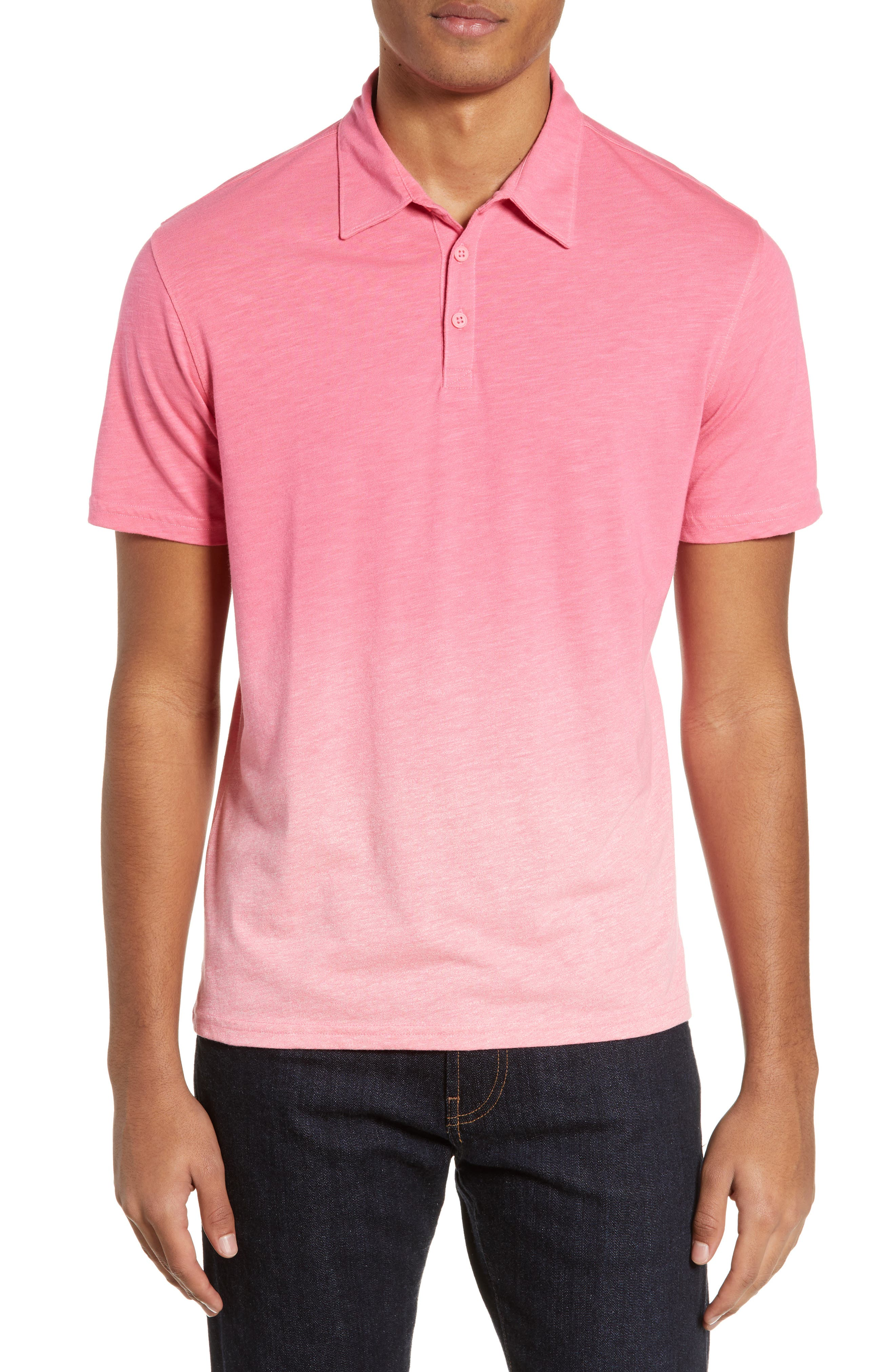 ZACHARY PRELL Shelter Island Dip Dye Polo, Main, color, BRIGHT PINK