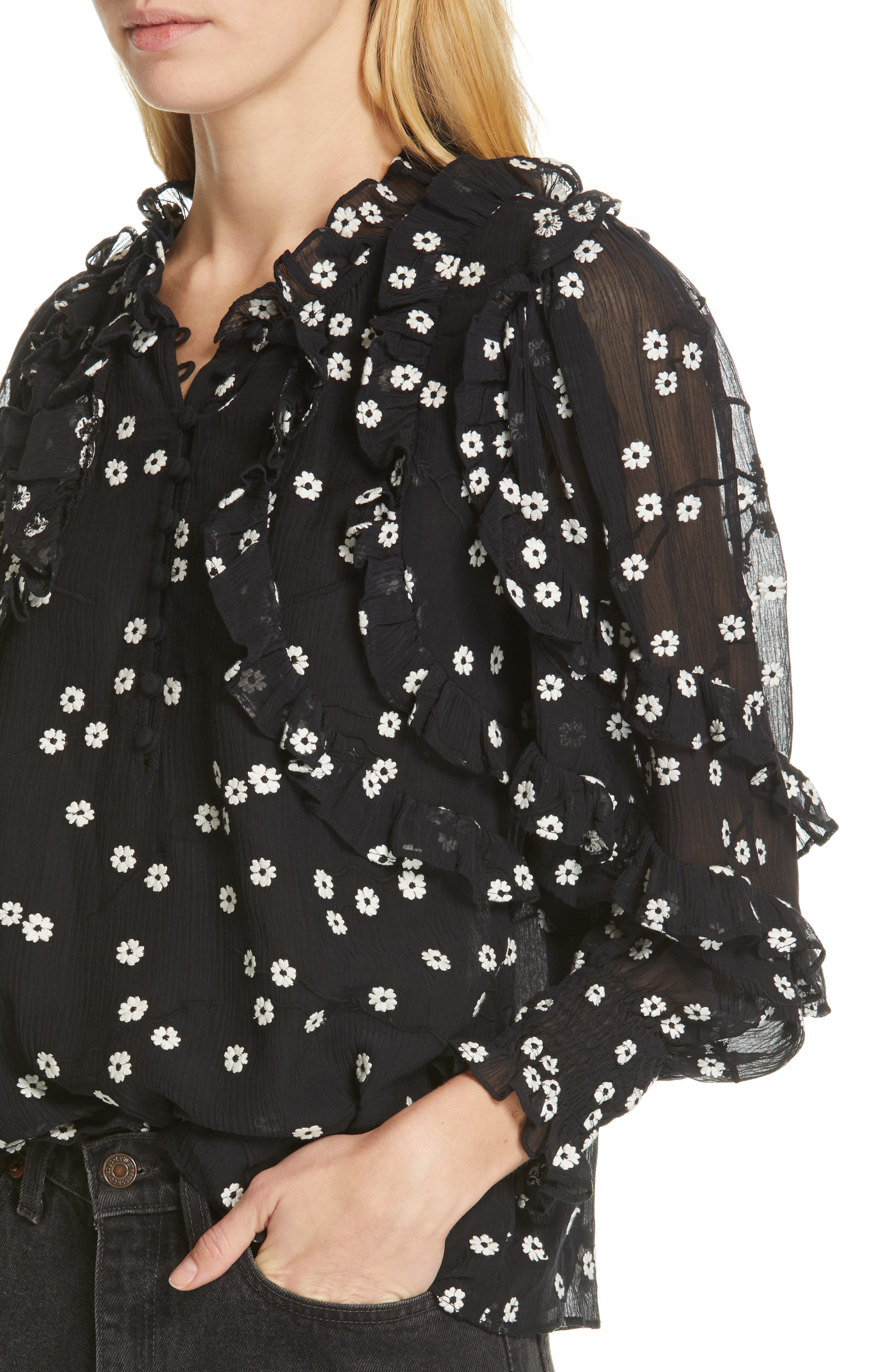REBECCA TAYLOR, Alessandra Ruffle Top, Alternate thumbnail 4, color, BLACK COMBO