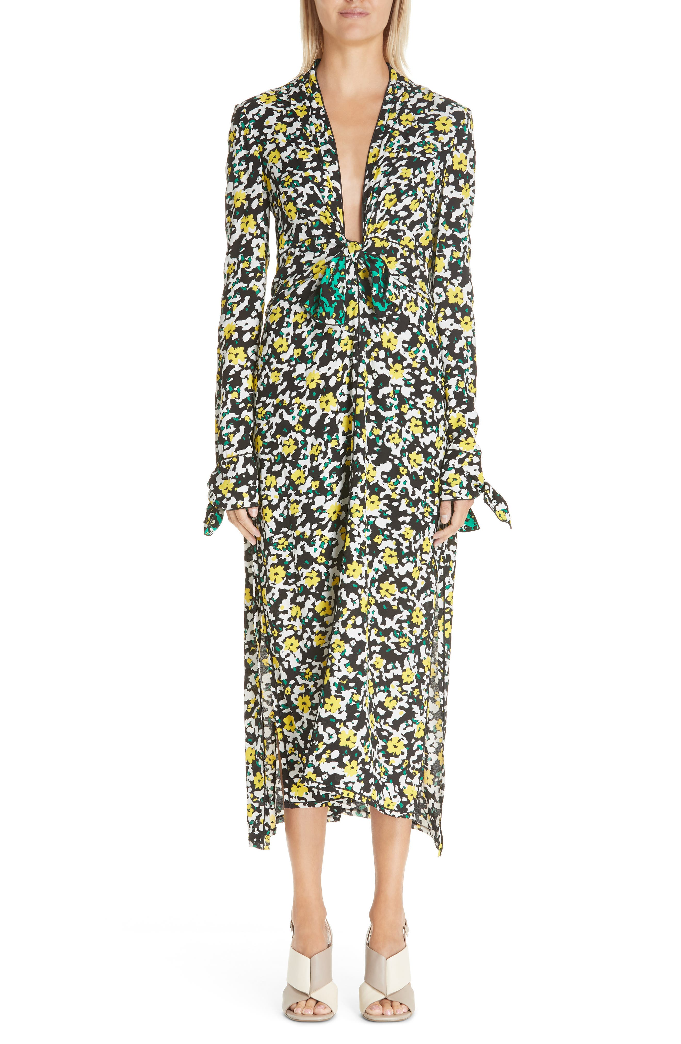 PROENZA SCHOULER, Floral Print Knotted Midi Dress, Main thumbnail 1, color, WHITE WILDFLOWER