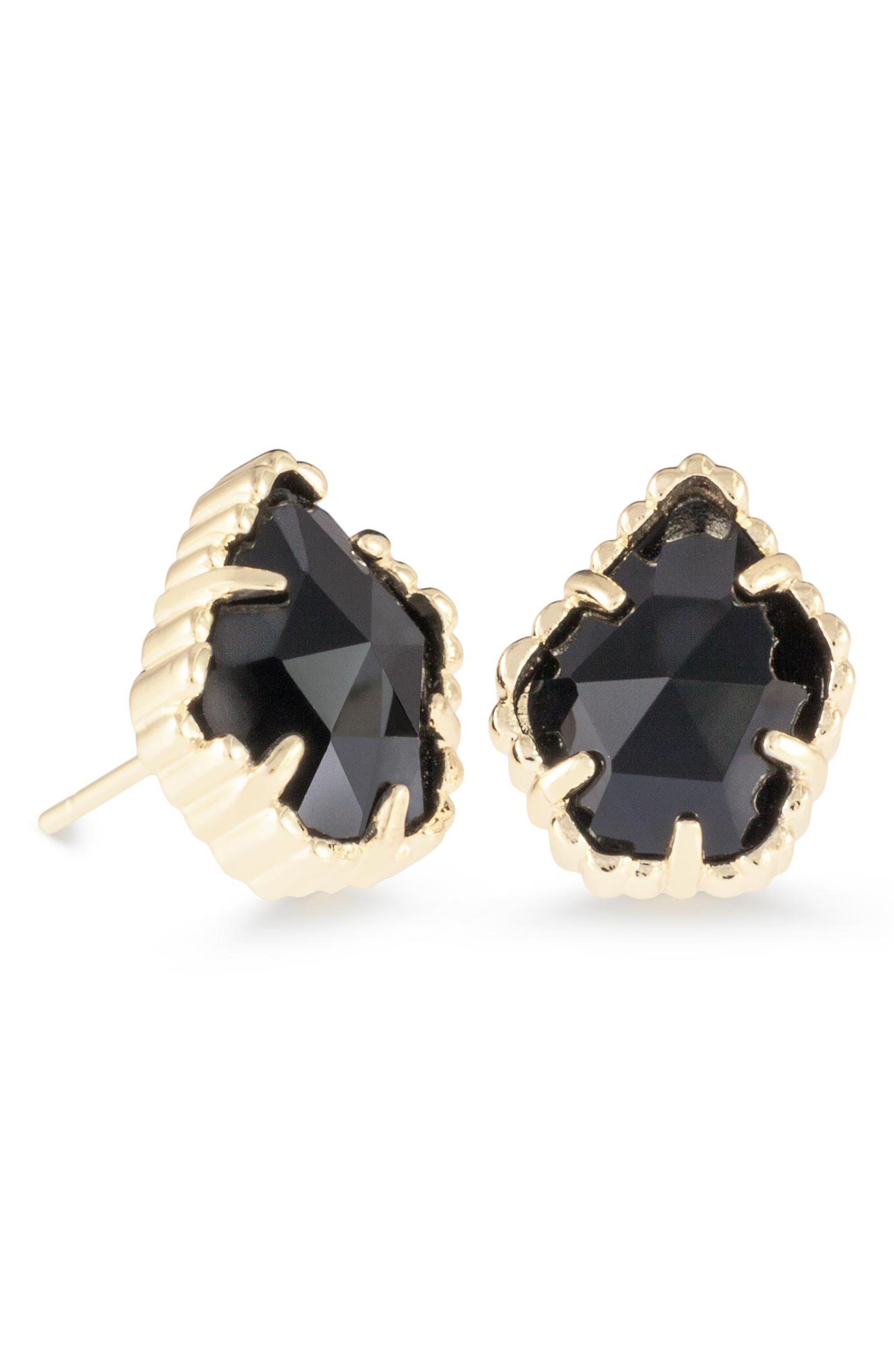 KENDRA SCOTT, Tessa Stone Stud Earrings, Main thumbnail 1, color, BLACK/ GOLD