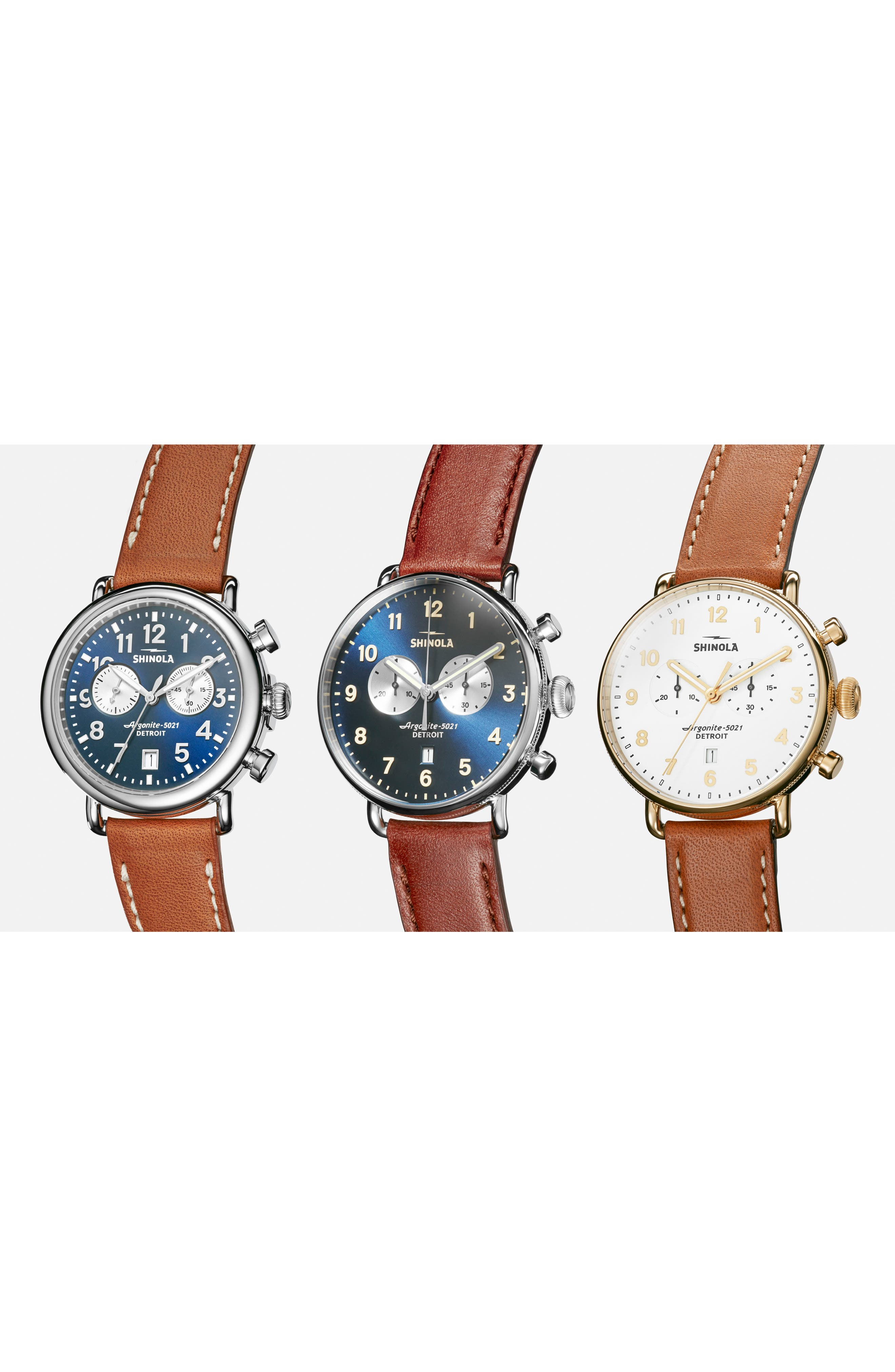 SHINOLA, The Canfield Chrono Leather Strap Watch, 43mm, Alternate thumbnail 4, color, DARK COGNAC/ MIDNIGHT BLUE