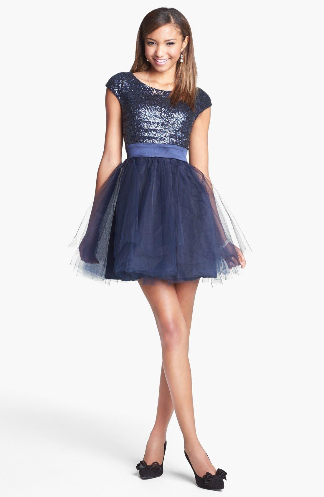 TRIXXI Sequin & Tulle Party Dress, Main, color, 400
