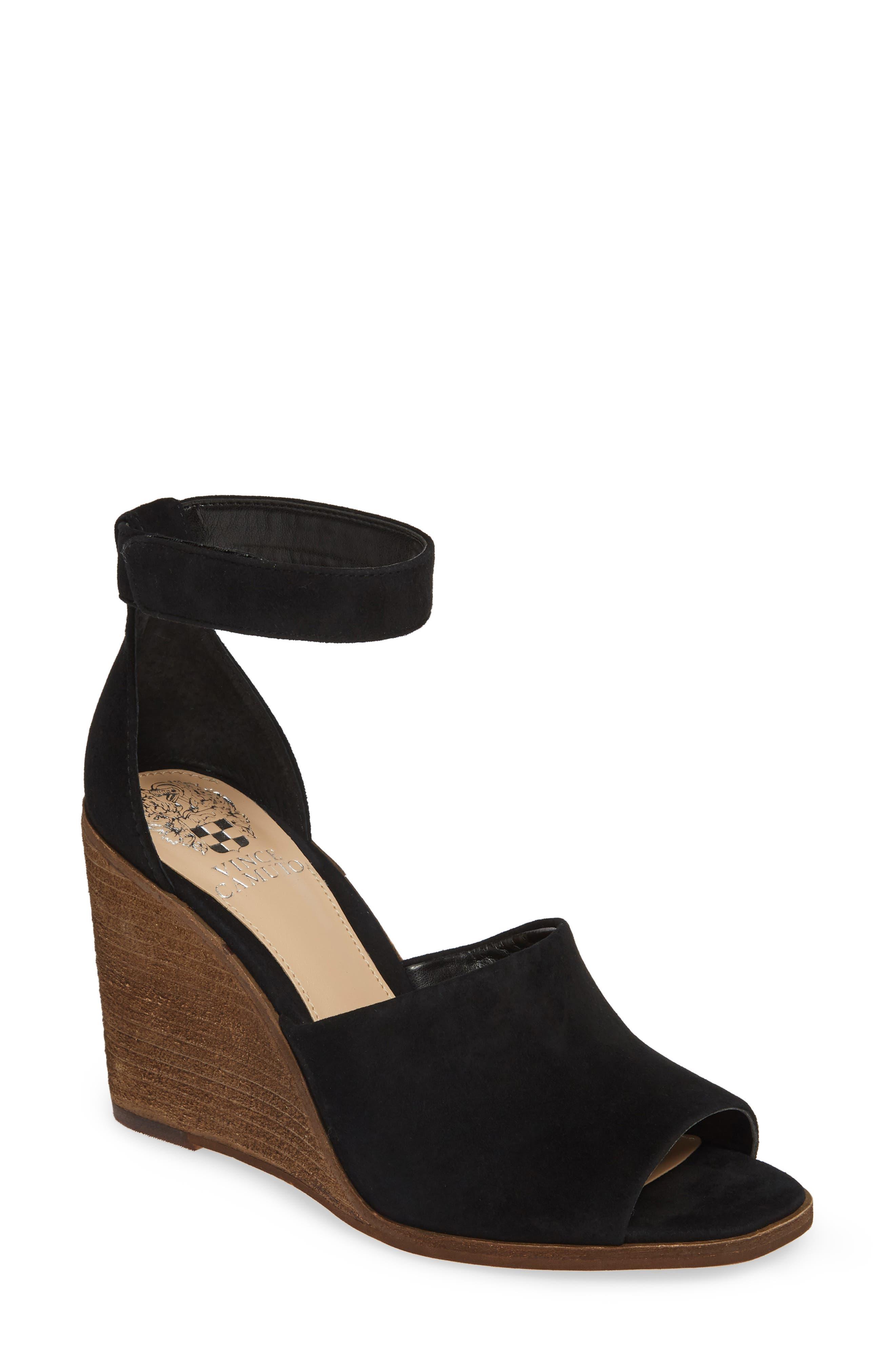 VINCE CAMUTO Deedriana Wedge Sandal, Main, color, BLACK SUEDE