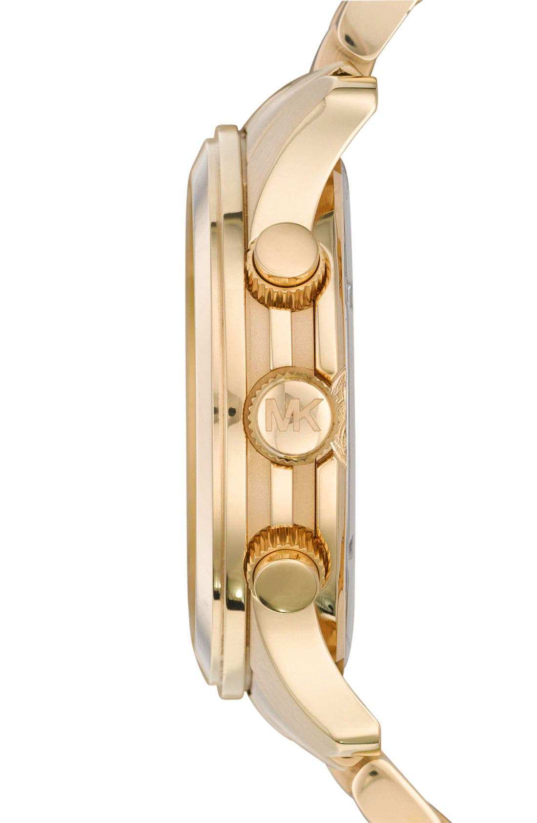 MICHAEL KORS, 'Large Runway' Chronograph Bracelet Watch, 45mm, Alternate thumbnail 4, color, GOLD