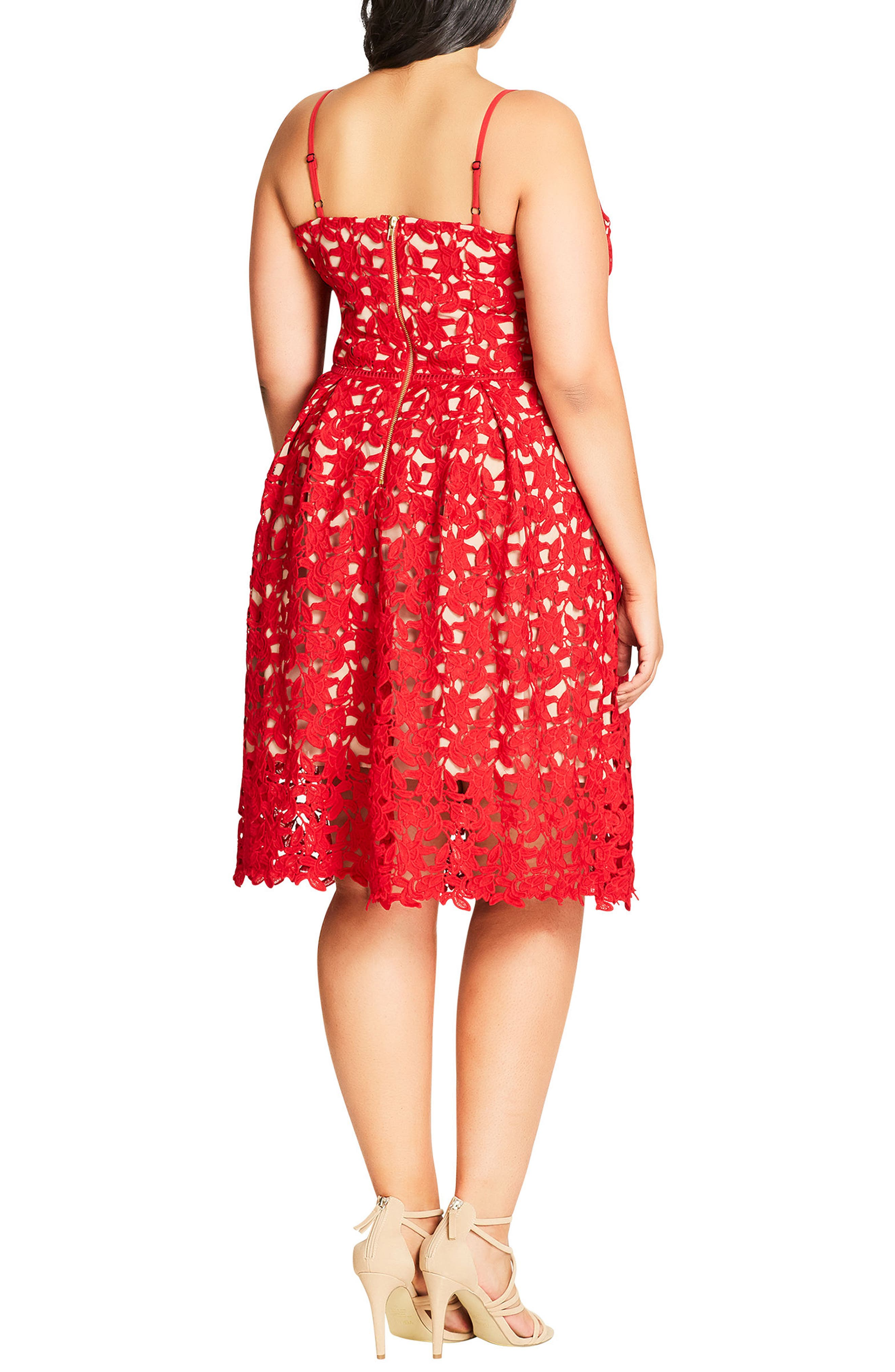 CITY CHIC, So Fancy Lace Dress, Alternate thumbnail 2, color, SCARLET