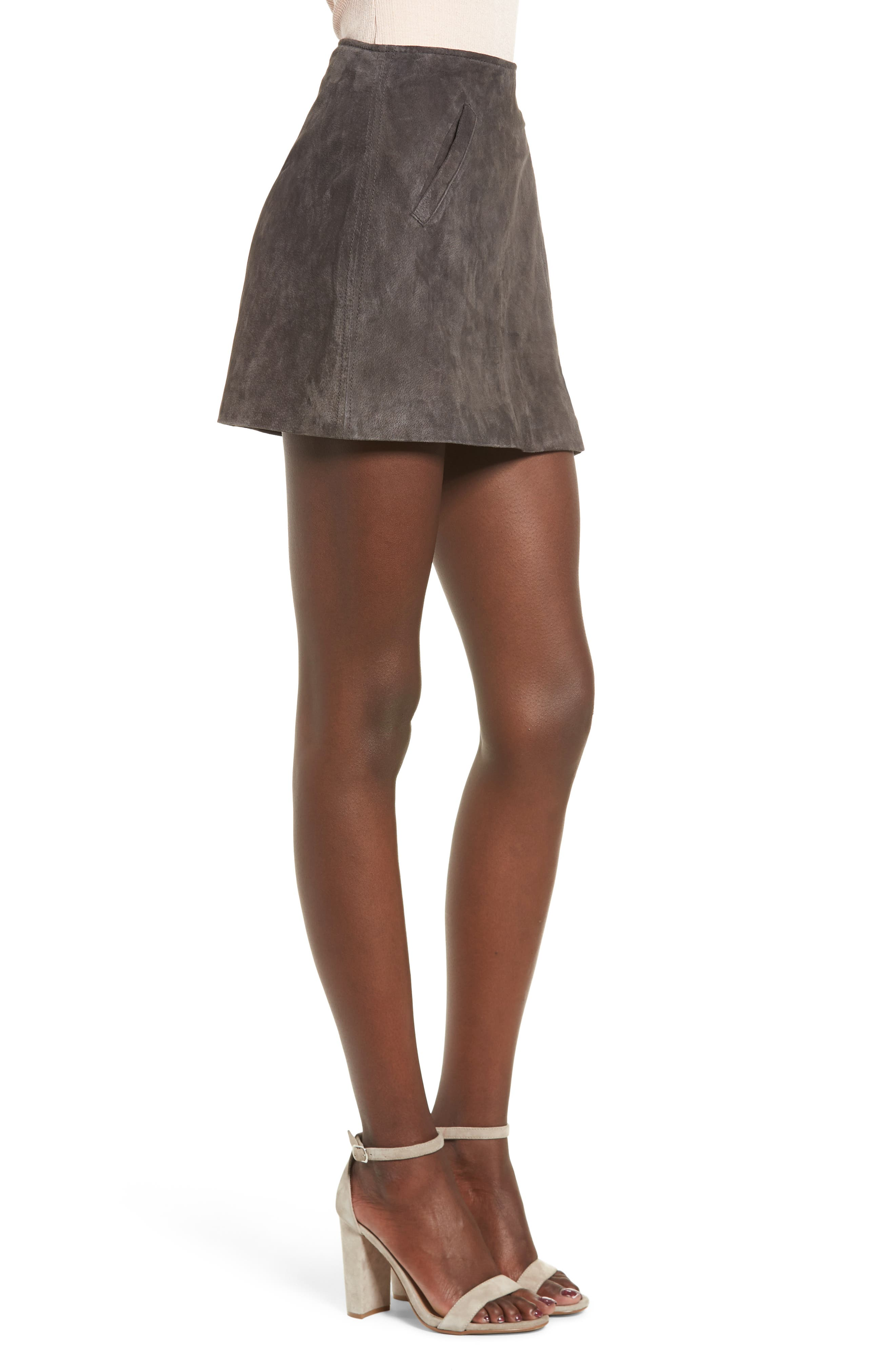BLANKNYC, Suede Miniskirt, Alternate thumbnail 3, color, 020