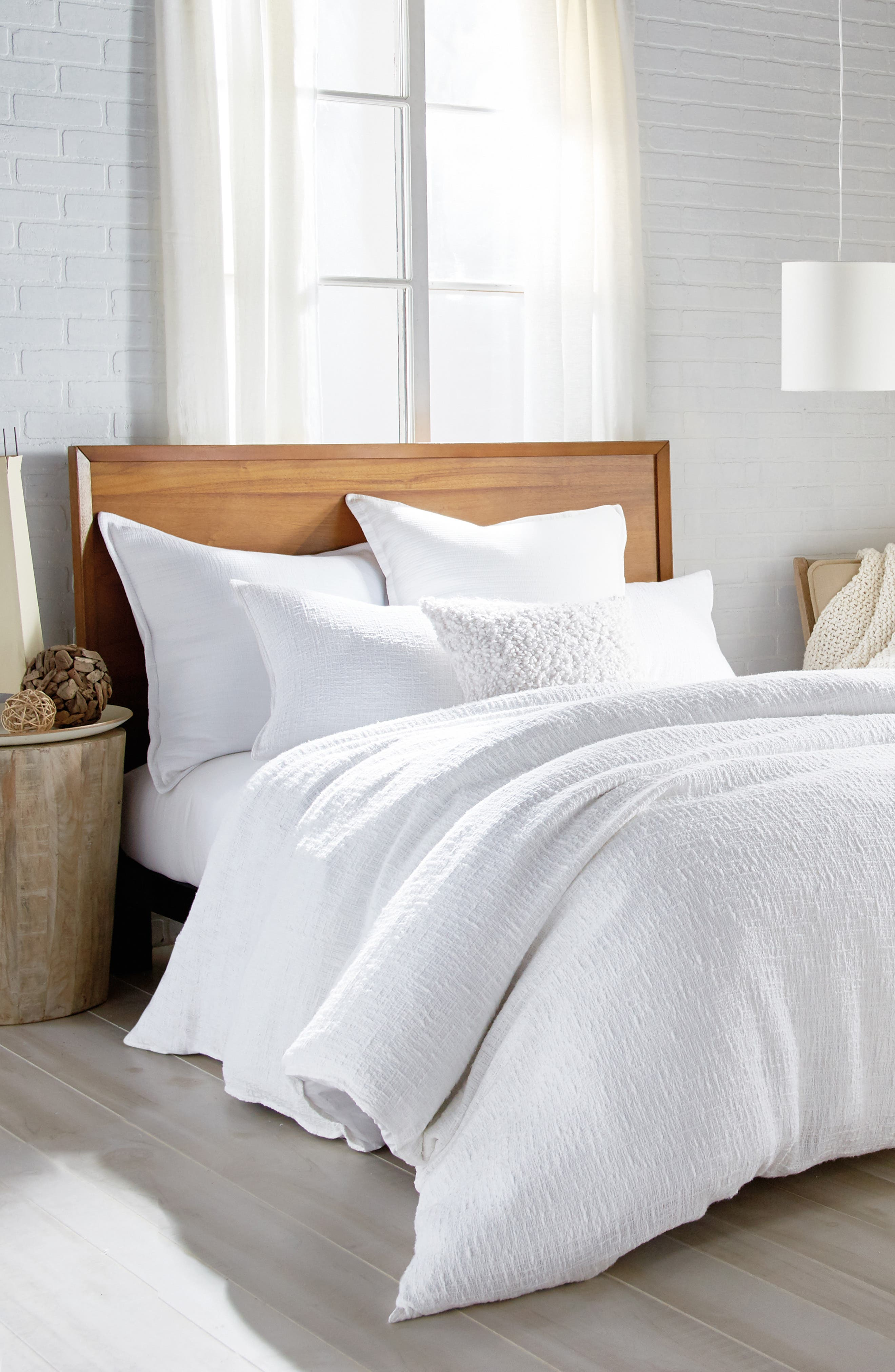 DKNY, Pure Texture Duvet Cover, Alternate thumbnail 4, color, WHITE