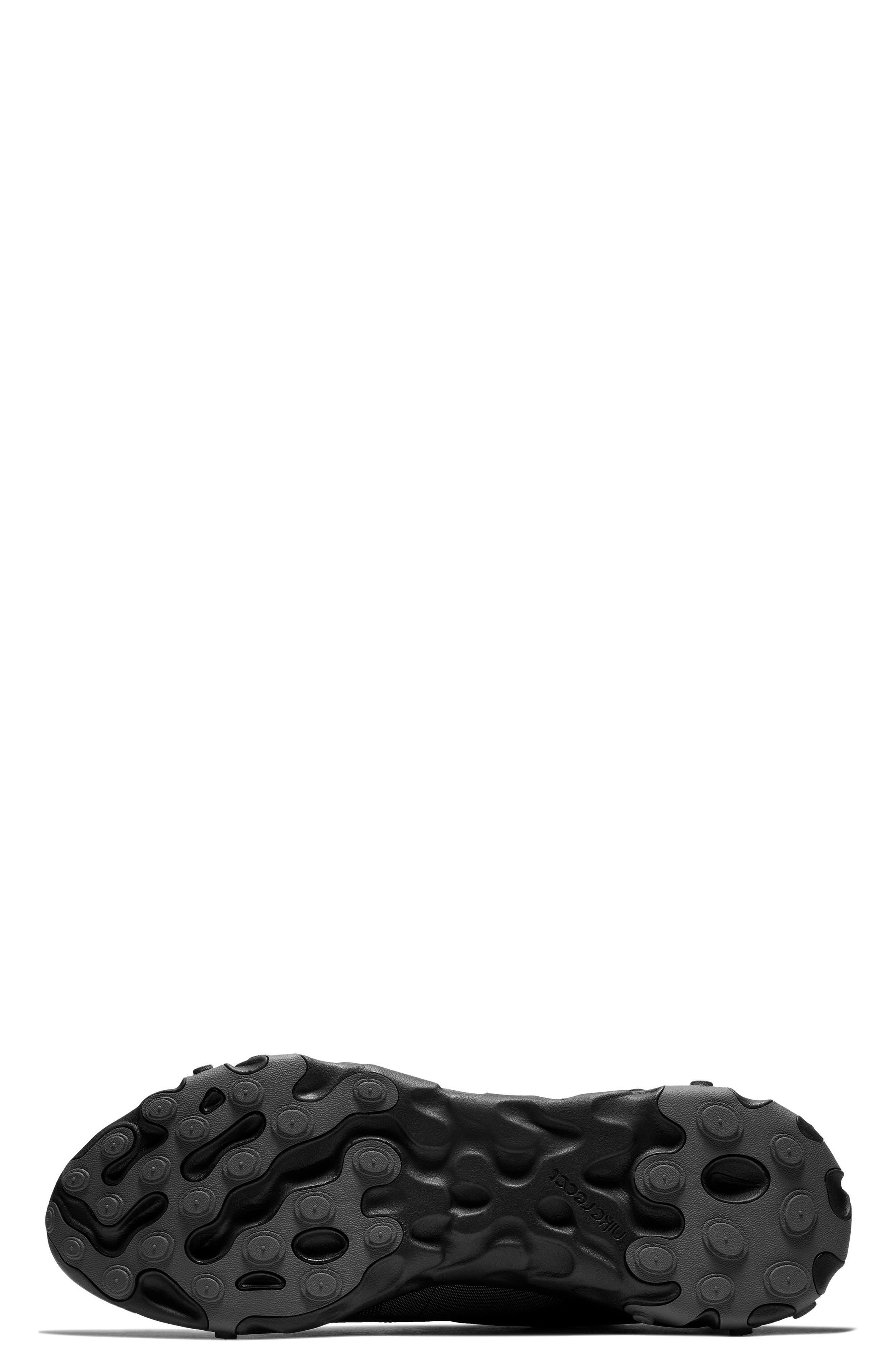 NIKE, React Element 55 Sneaker, Alternate thumbnail 5, color, BLACK/ DARK GREY