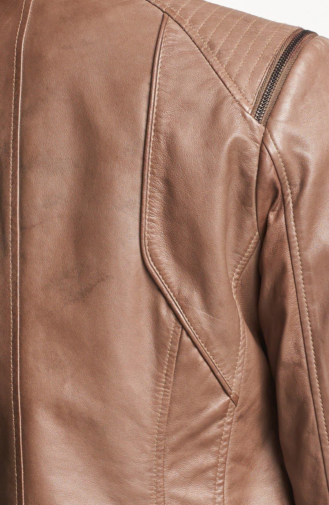 BERNARDO, Zip Trim Leather Scuba Jacket, Alternate thumbnail 2, color, 270