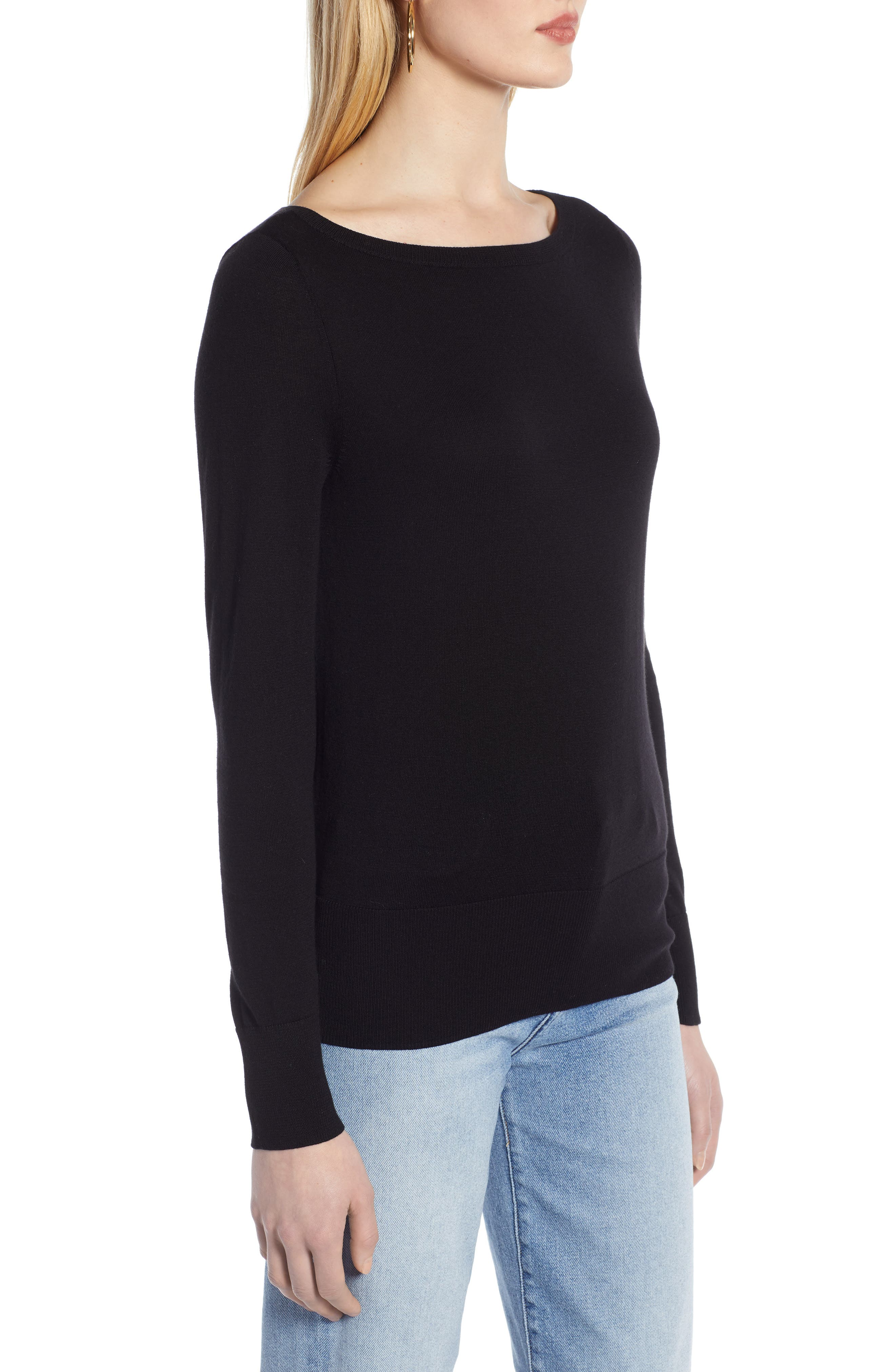 HALOGEN<SUP>®</SUP>, Bateau Neck Sweater, Alternate thumbnail 3, color, BLACK