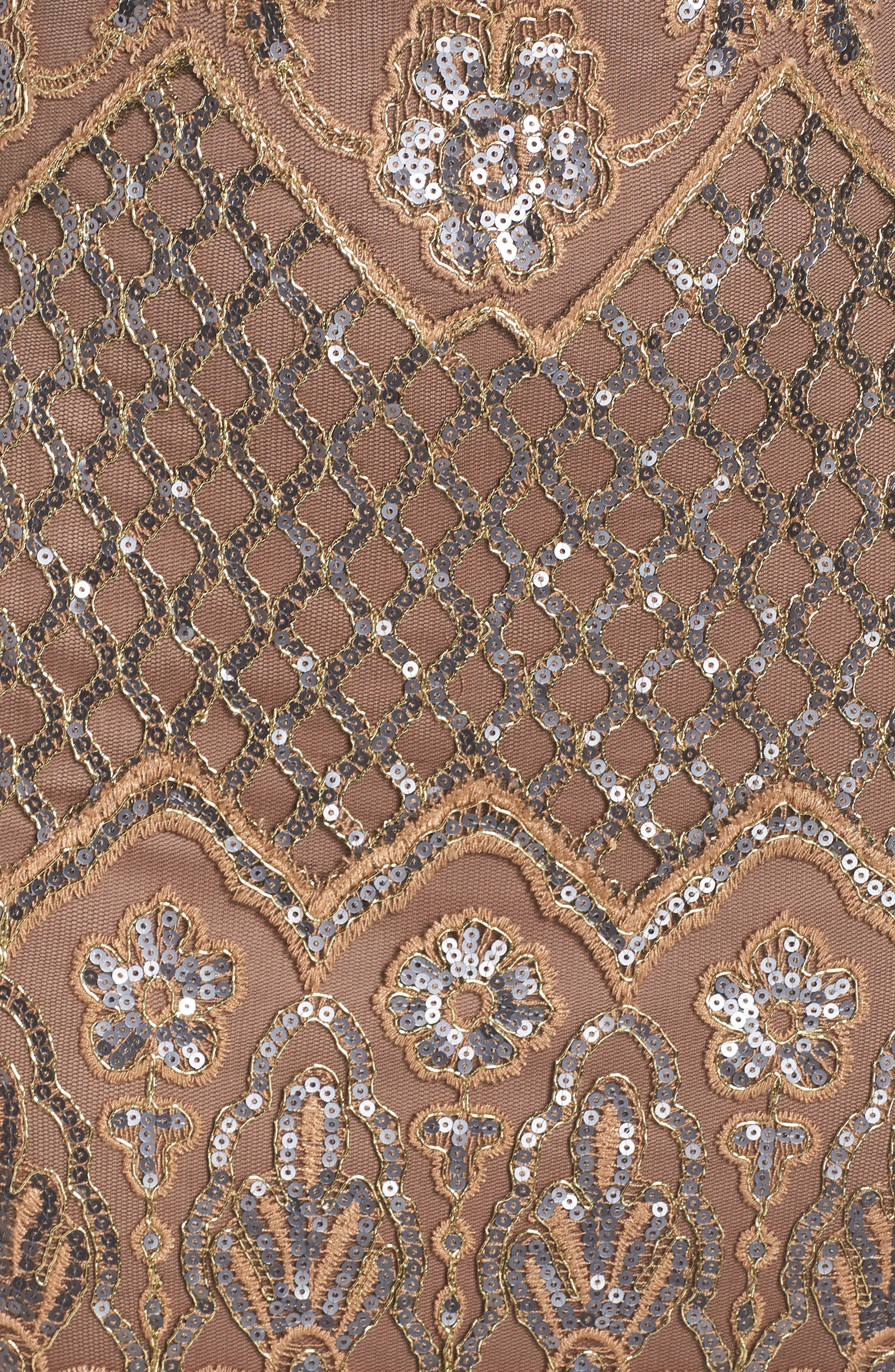 TADASHI SHOJI, Illusion Neck Sequin Lace Evening Dress, Alternate thumbnail 6, color, 230