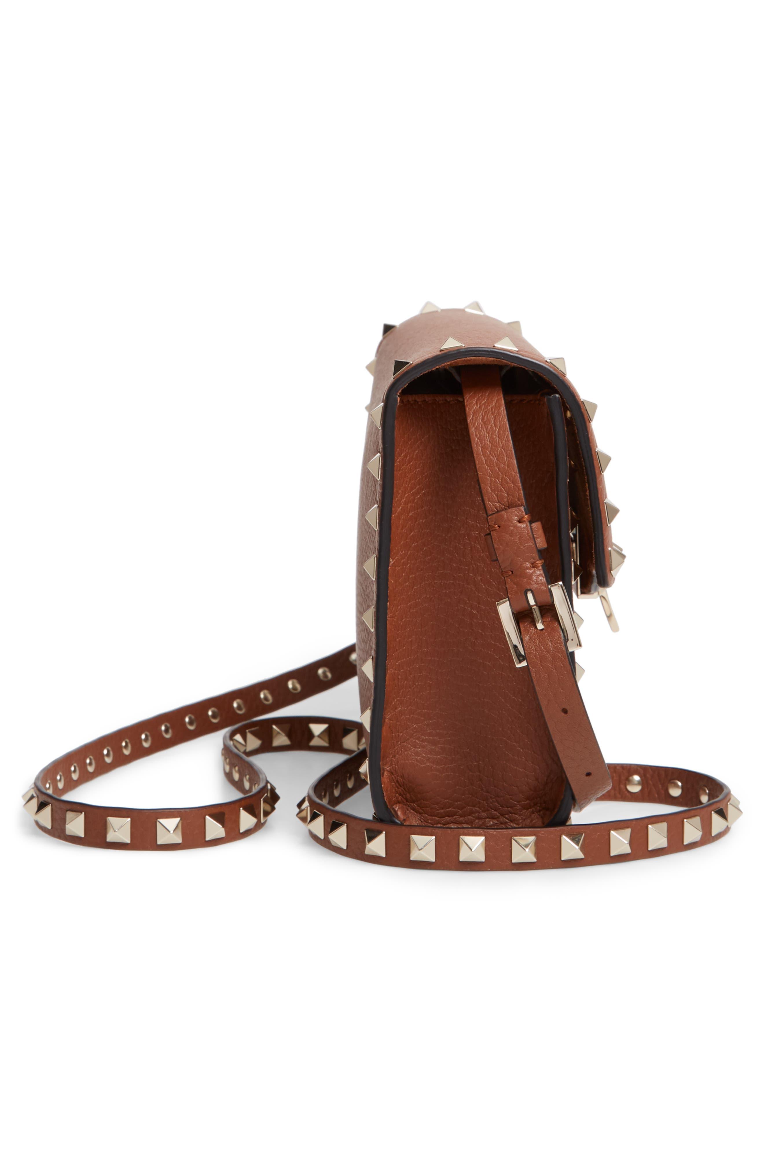 VALENTINO GARAVANI, Medium Rockstud Leather Crossbody Bag, Alternate thumbnail 5, color, BRIGHT COGNAC