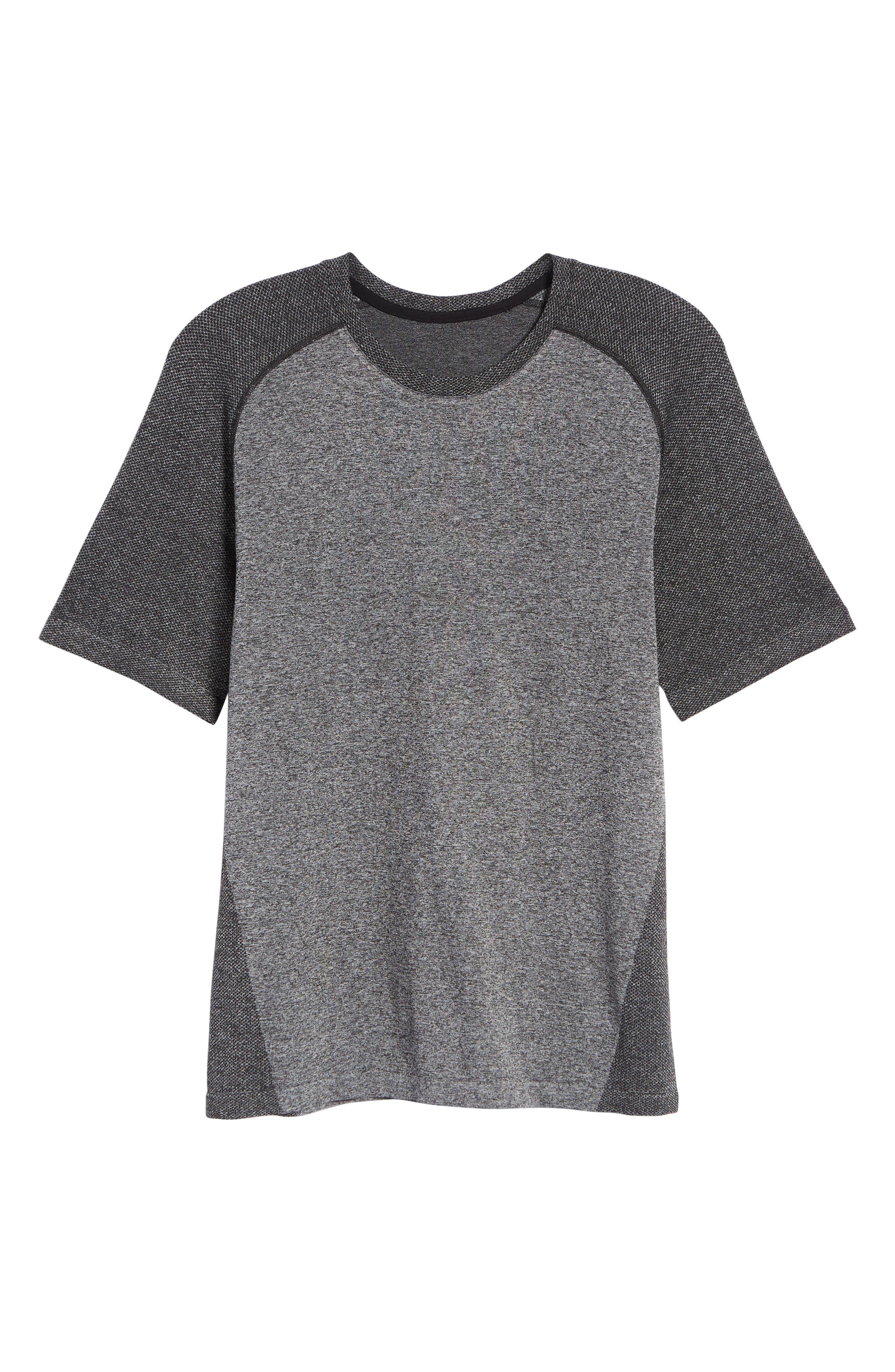 ZELLA, Seamless Raglan T-Shirt, Alternate thumbnail 7, color, BLACK OXIDE MELANGE