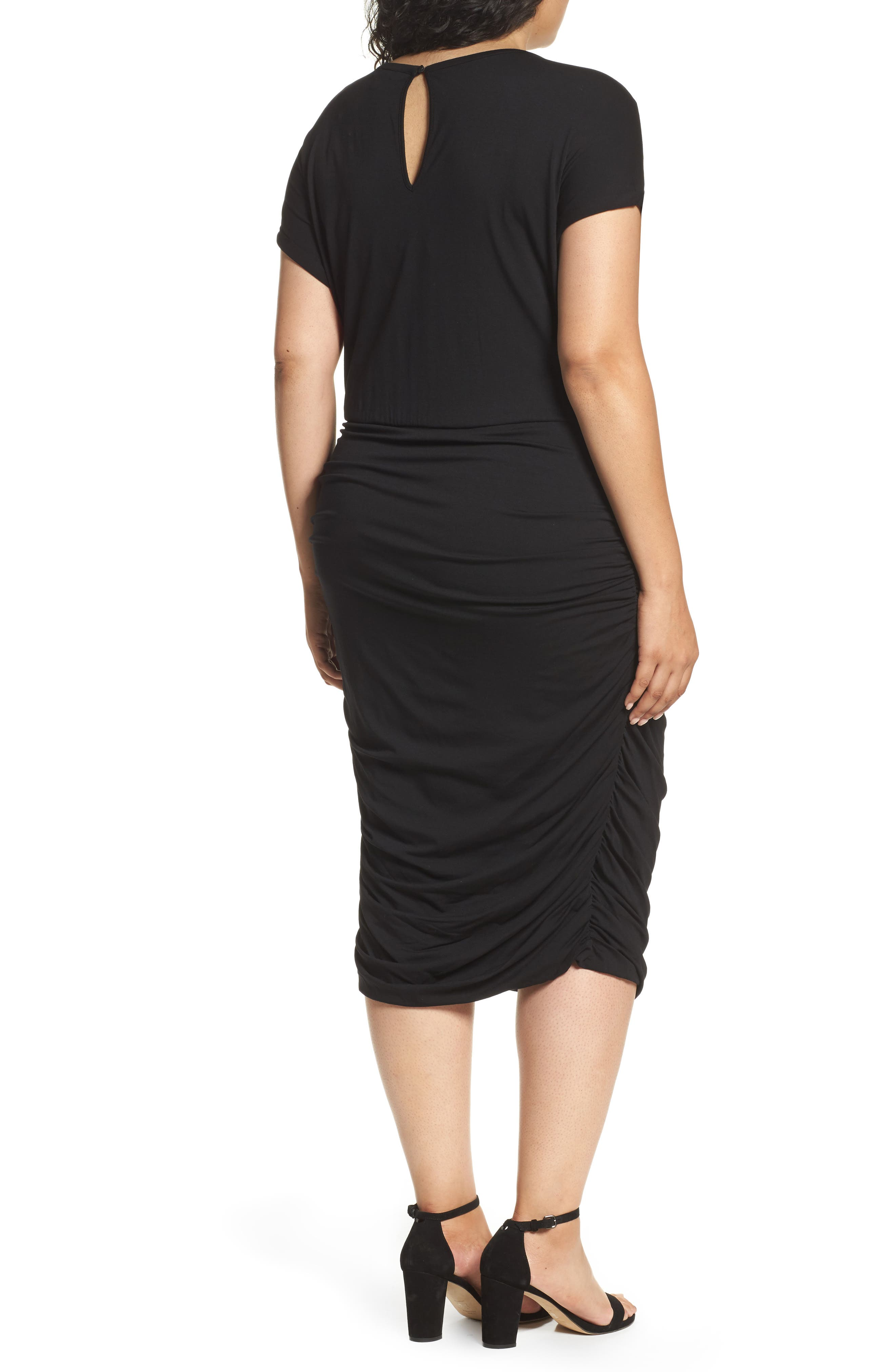 VINCE CAMUTO, Side Ruched Jersey Midi Dress, Alternate thumbnail 2, color, 001