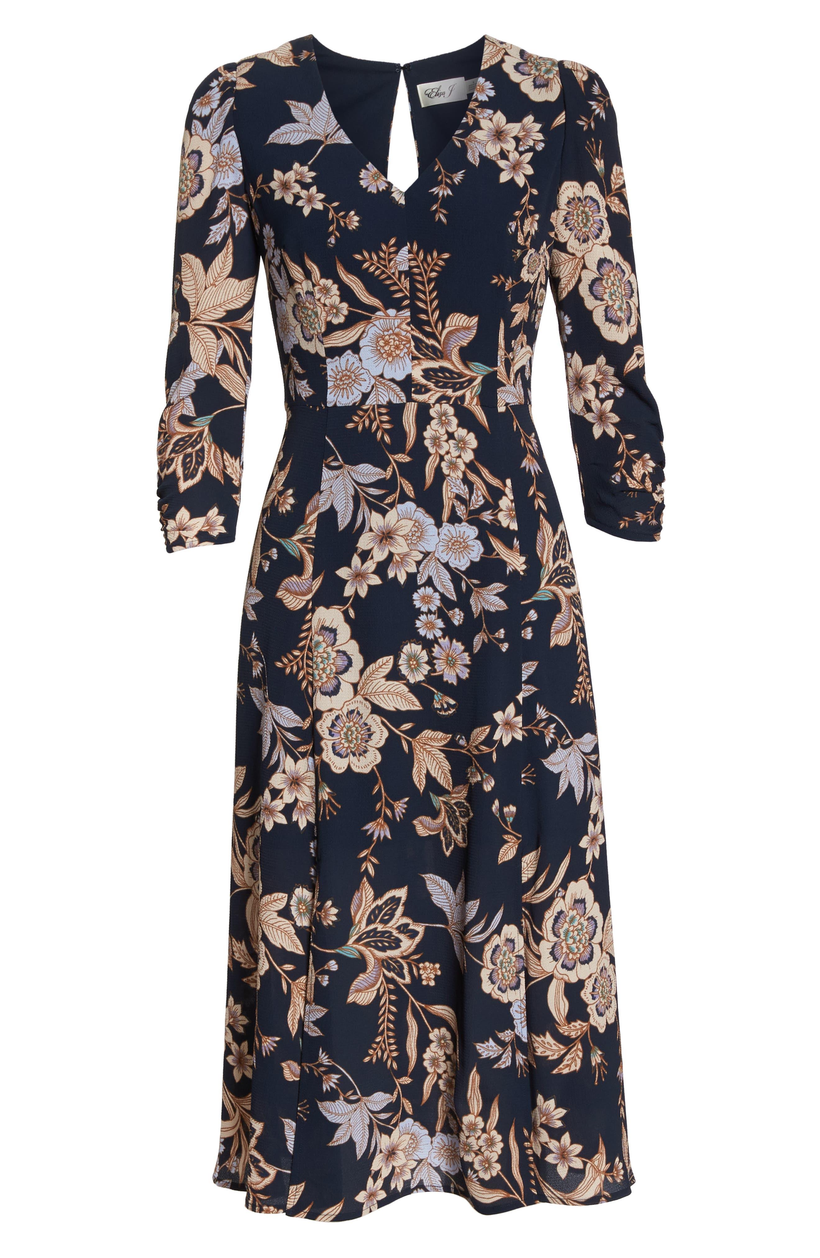 ELIZA J, Floral Midi Dress, Alternate thumbnail 7, color, 410