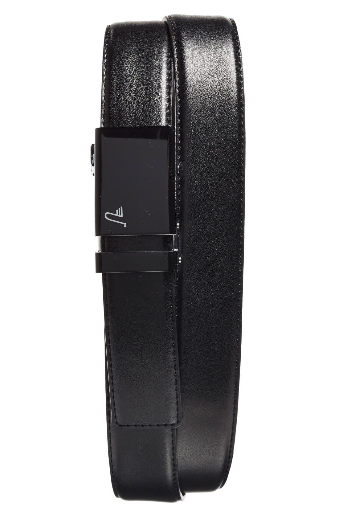 MISSION BELT, 'Vader 40'Leather Belt, Main thumbnail 1, color, BLACK/ BLACK