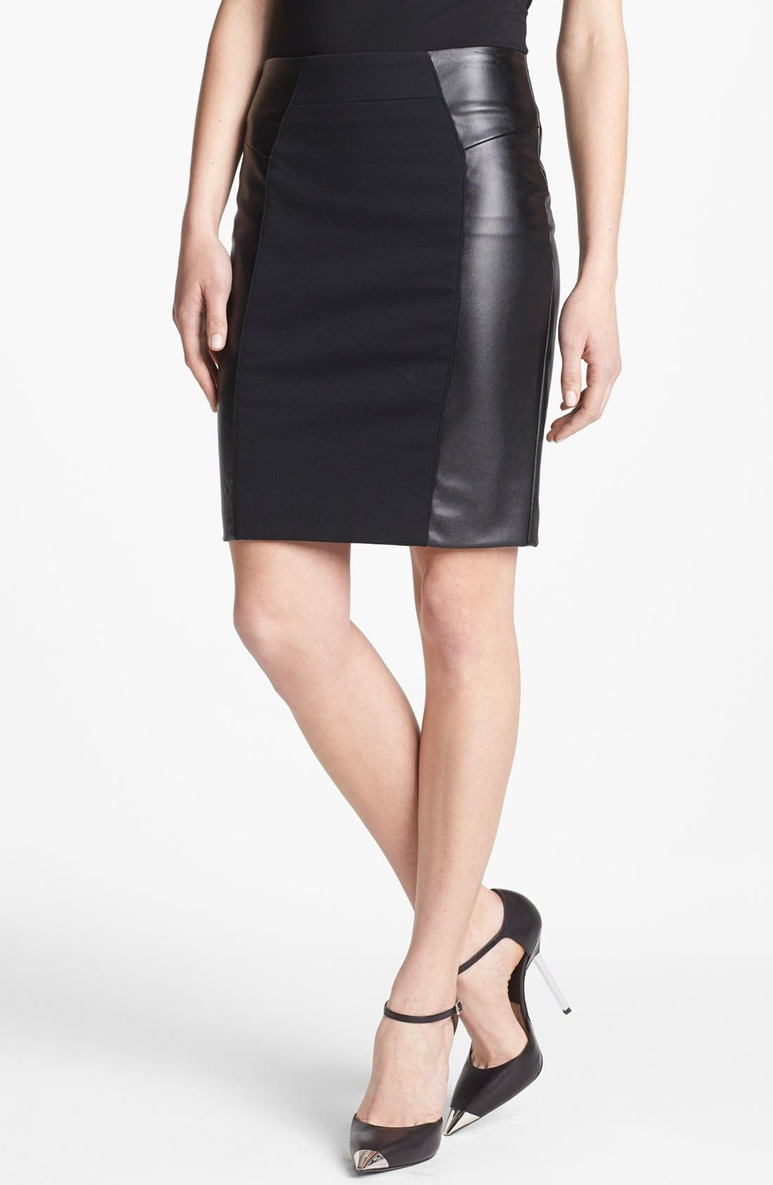 MICHAEL MICHAEL KORS, Ponte & Faux Leather Skirt, Main thumbnail 1, color, 002