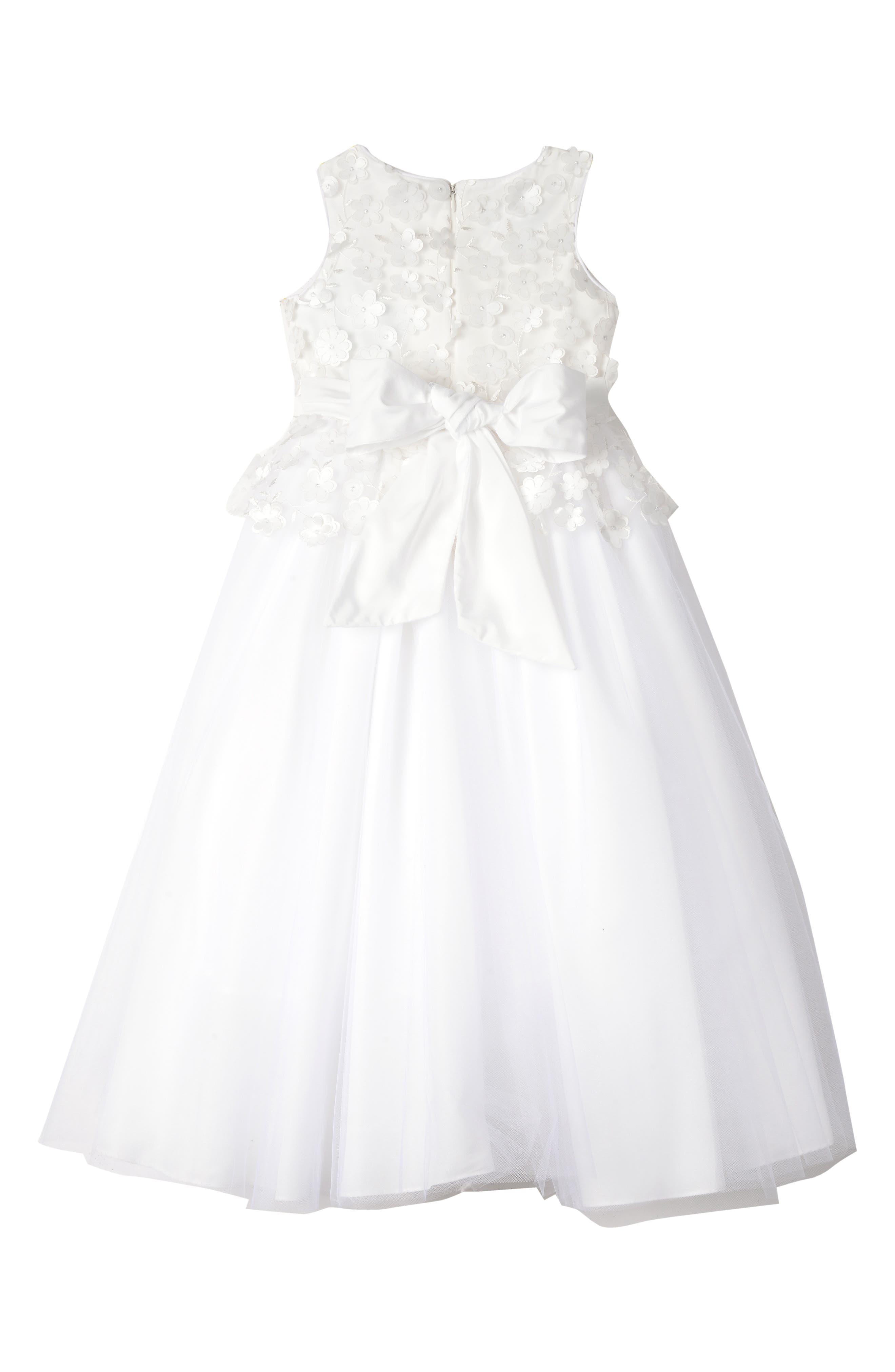 BADGLEY MISCHKA COLLECTION, Badgley Mischka 3D Flower Peplum Dress, Alternate thumbnail 2, color, WHITE
