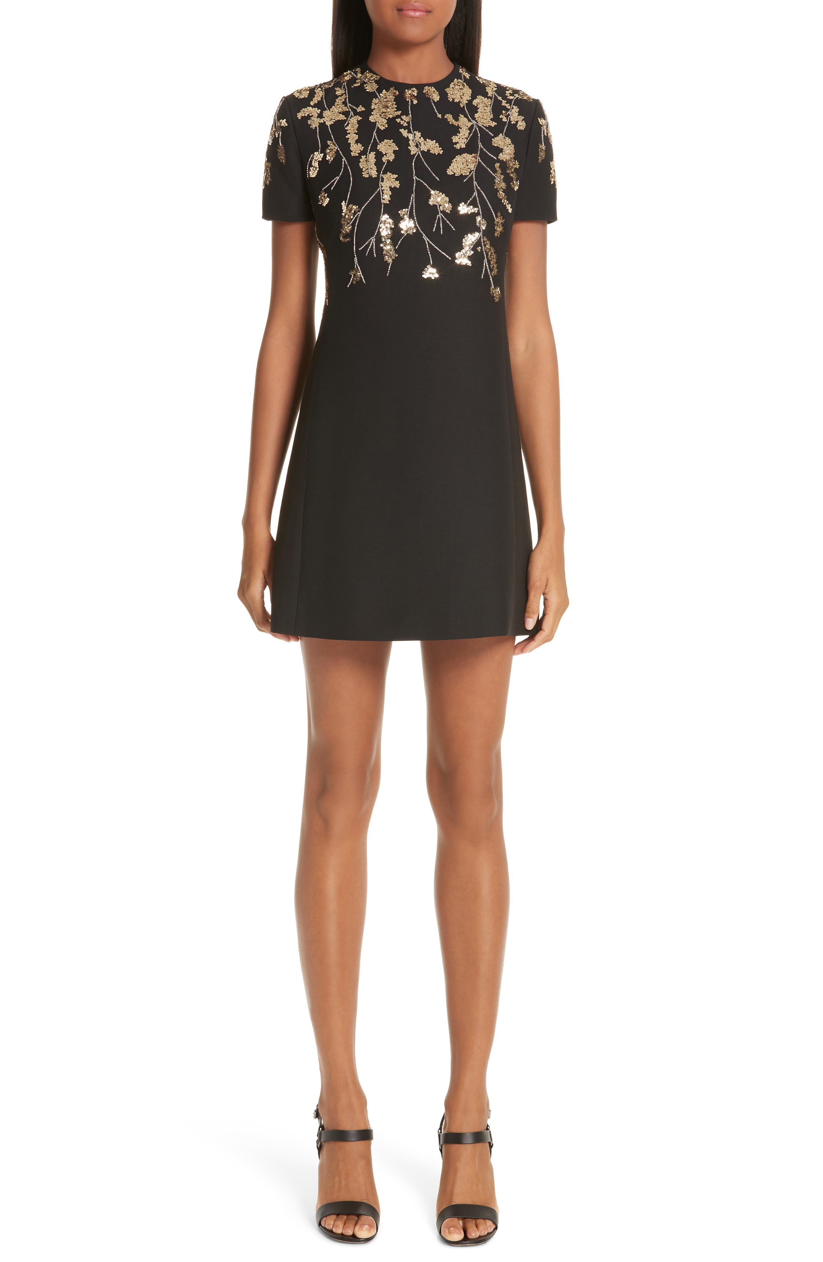 VALENTINO, Floral Embroidered Crepe Couture Dress, Main thumbnail 1, color, BLACK GOLD