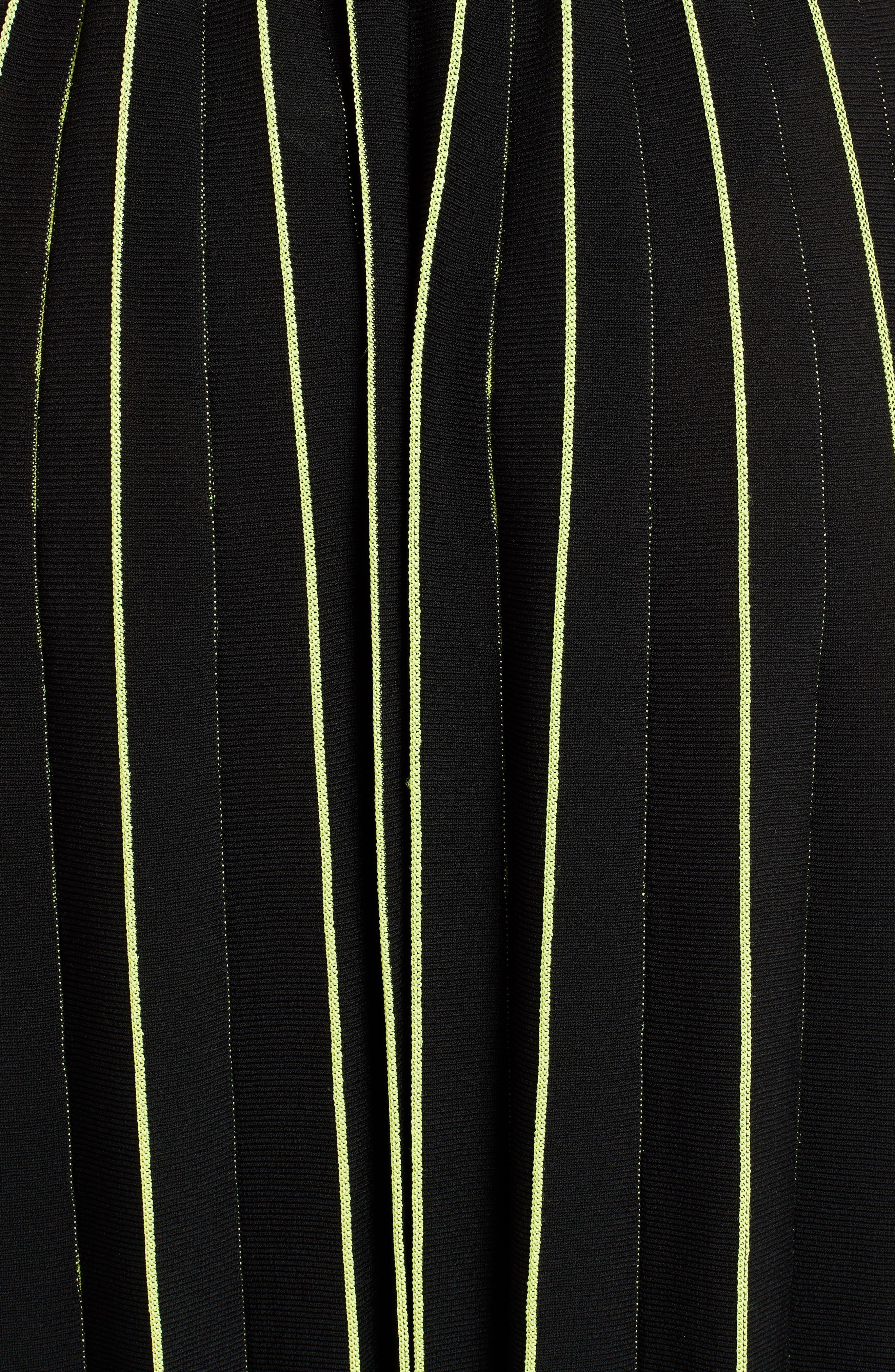 OFF-WHITE, Plissé Sweater Skirt, Alternate thumbnail 5, color, BLACK