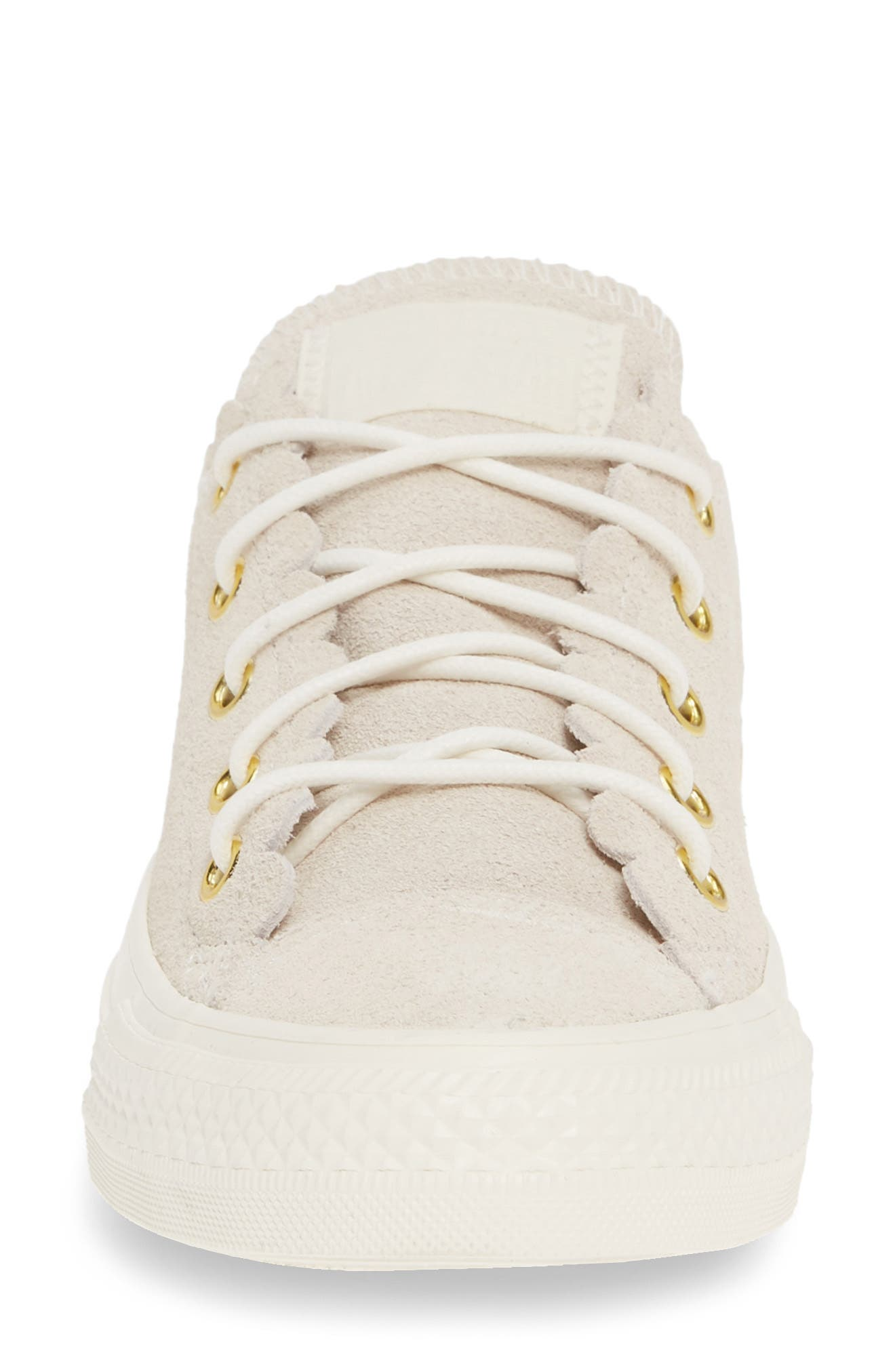 CONVERSE, Chuck Taylor<sup>®</sup> All Star<sup>®</sup> Scallop Low Top Leather Sneaker, Alternate thumbnail 4, color, EGRET/ GOLD/ EGRET