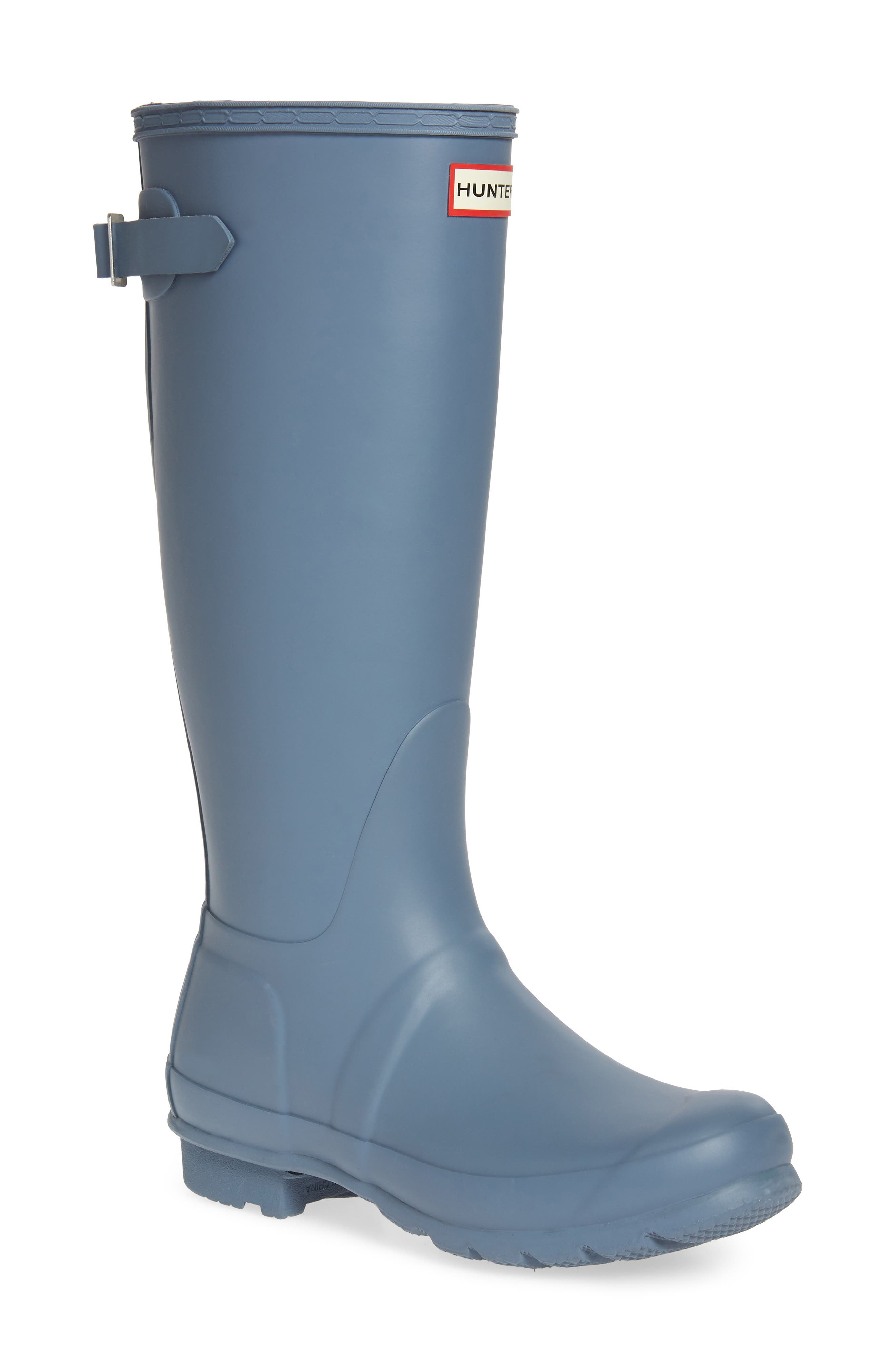 HUNTER, Original Tall Adjustable Back Waterproof Rain Boot, Main thumbnail 1, color, GULL GREY MATTE