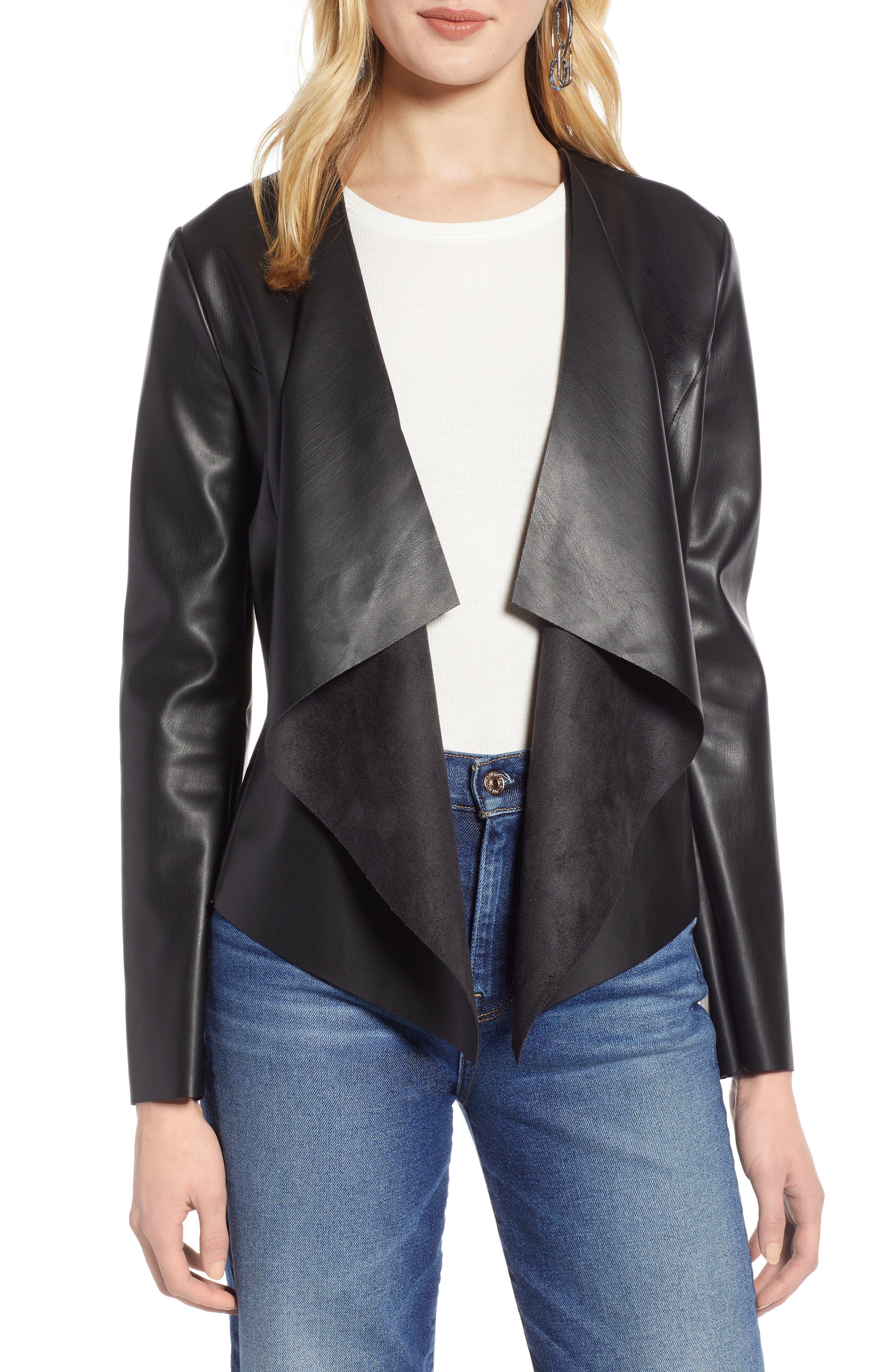 HALOGEN<SUP>®</SUP>, Drape Faux Leather Jacket, Main thumbnail 1, color, BLACK