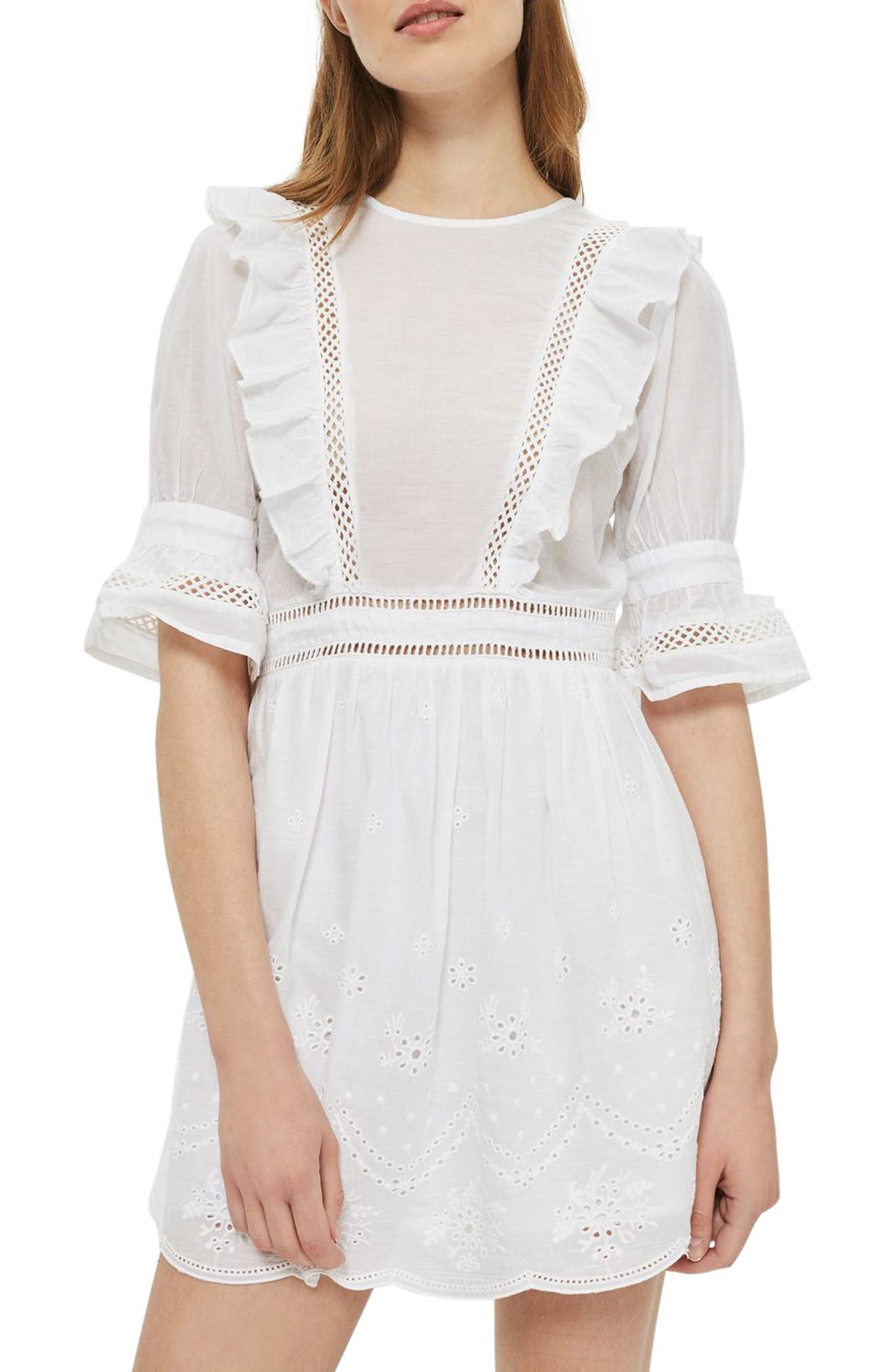 TOPSHOP Broderie Ruffle Minidress, Main, color, 100