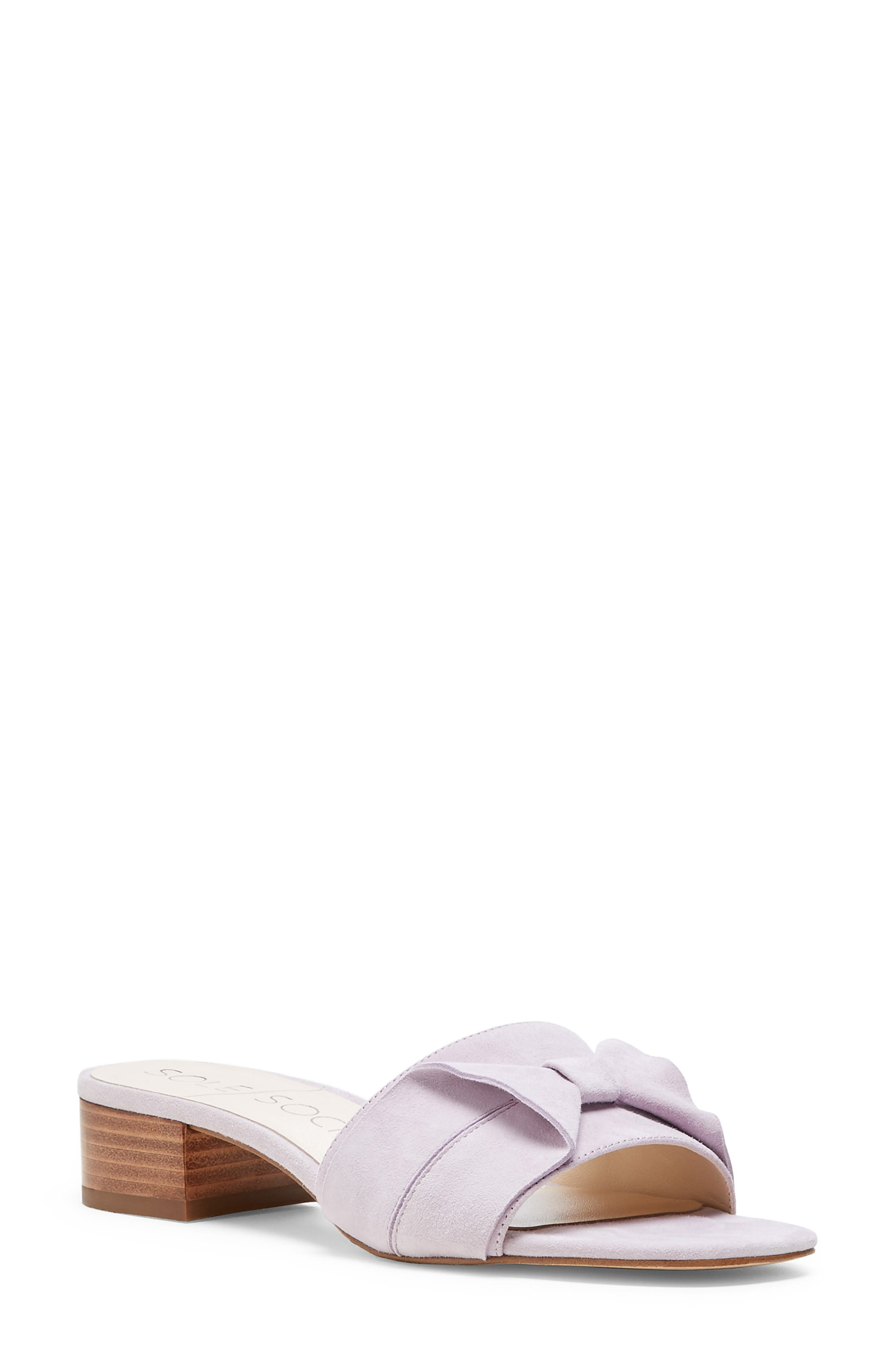 SOLE SOCIETY, Erianna Bow Slide Sandal, Main thumbnail 1, color, WASHED LAVENDER SUEDE