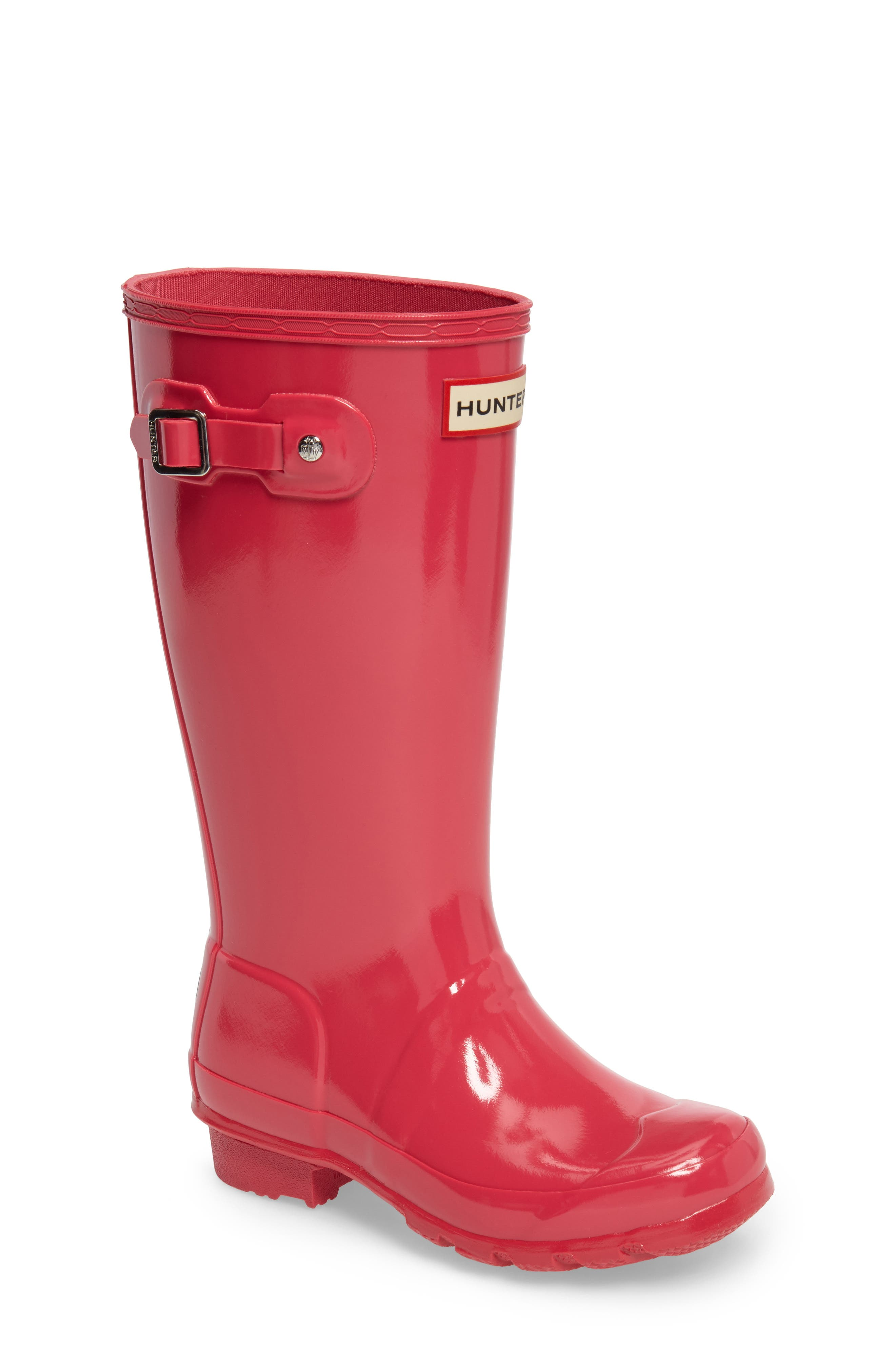 HUNTER, Original Gloss Rain Boot, Main thumbnail 1, color, BRIGHT PINK