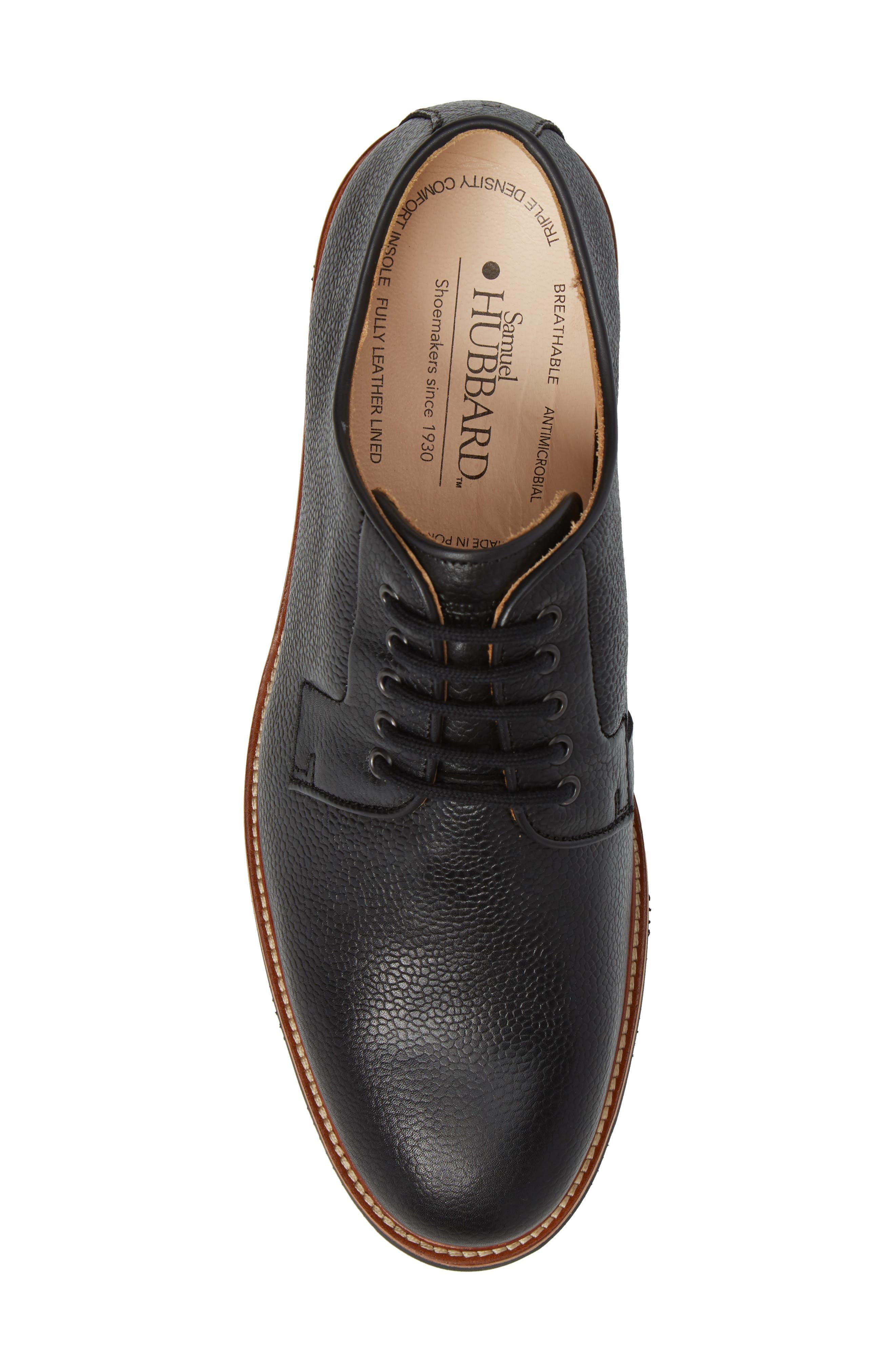 SAMUEL HUBBARD, Highlander Plain Toe Derby, Alternate thumbnail 5, color, BLACK PEBBLE GRAIN