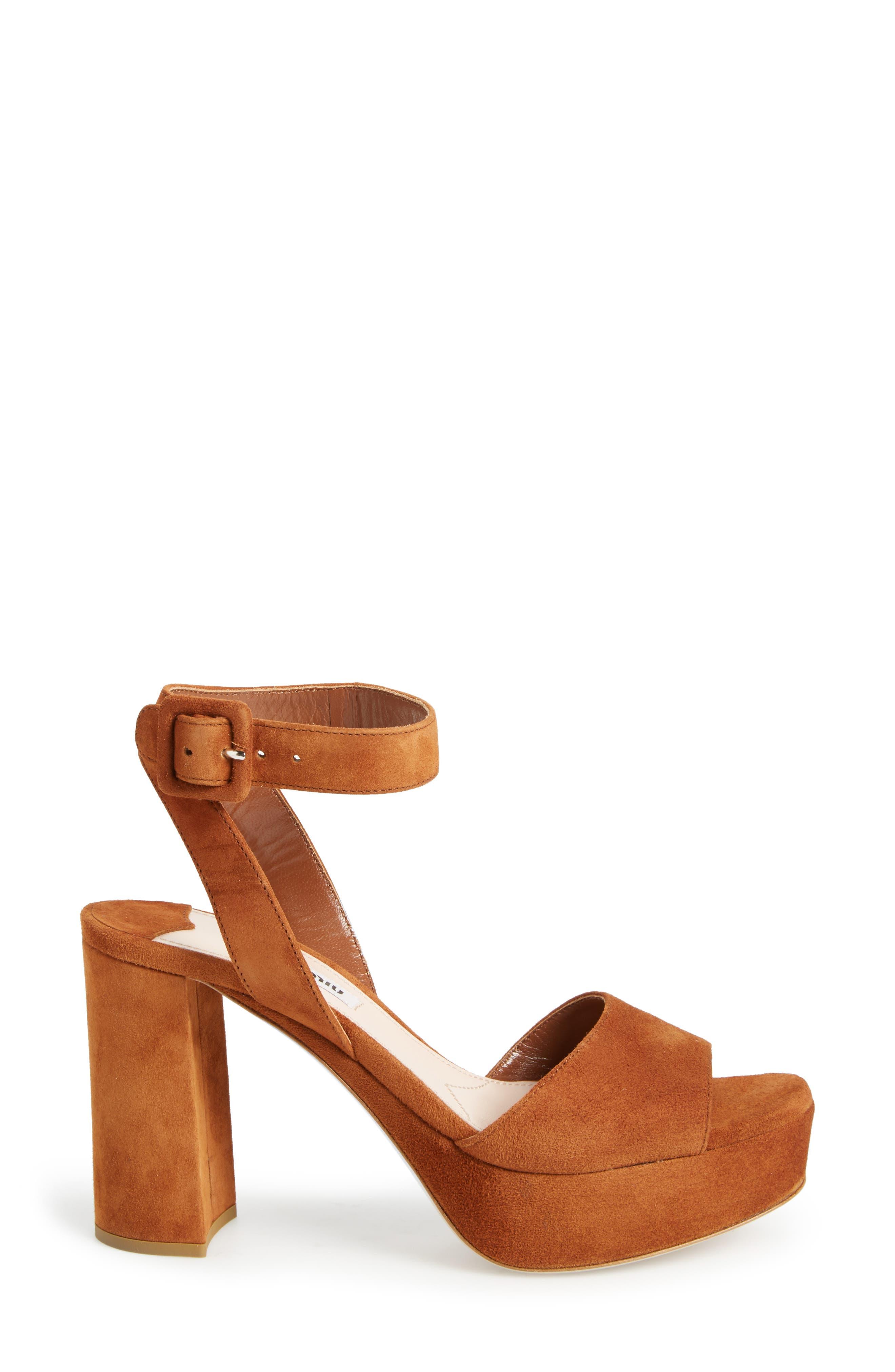 MIU MIU, 'Sandali' Ankle Strap Sandal, Alternate thumbnail 6, color, 200