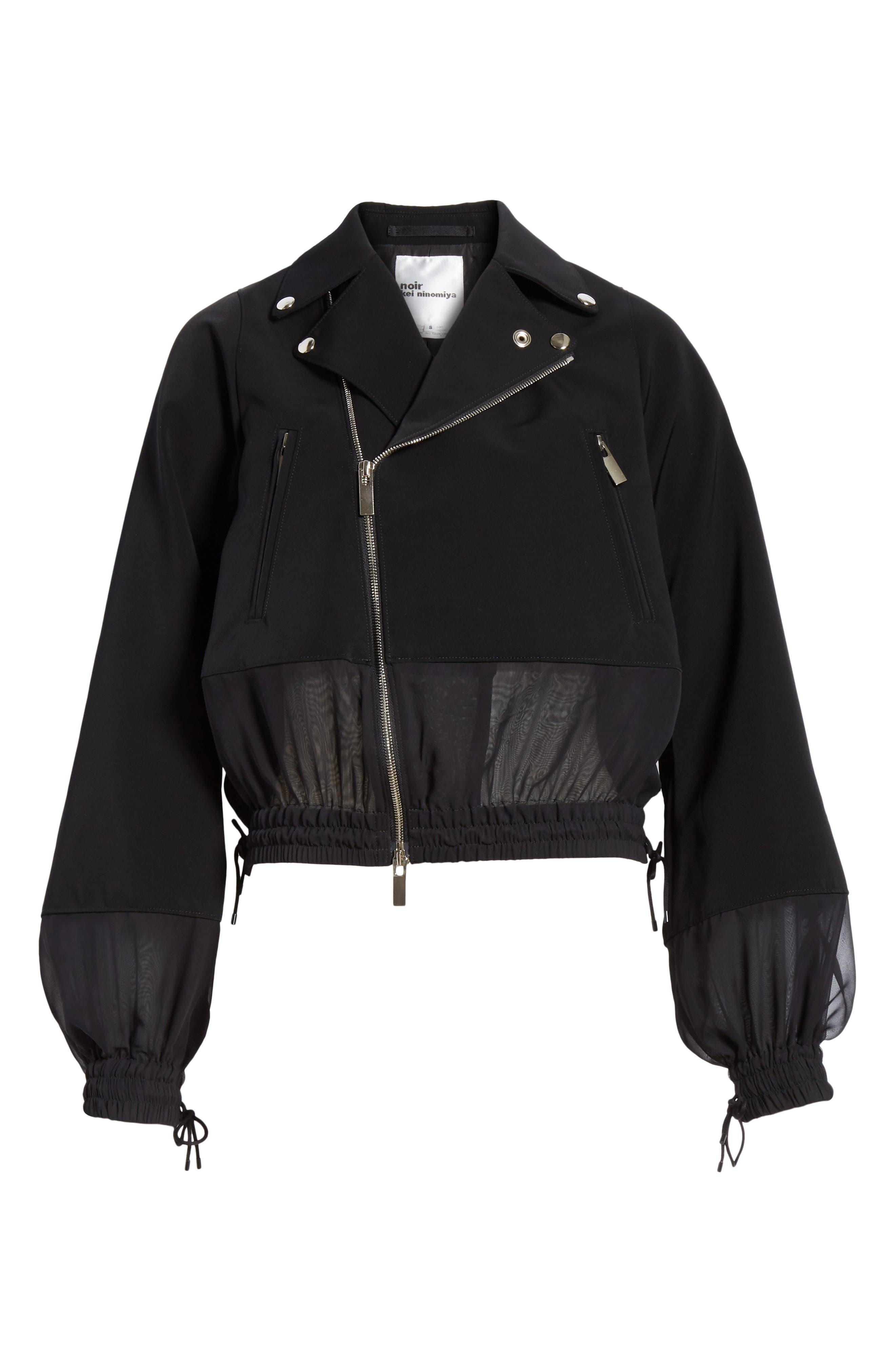 NOIR KEI NINOMIYA, Sheer Panel Moto Jacket, Alternate thumbnail 5, color, BLACK