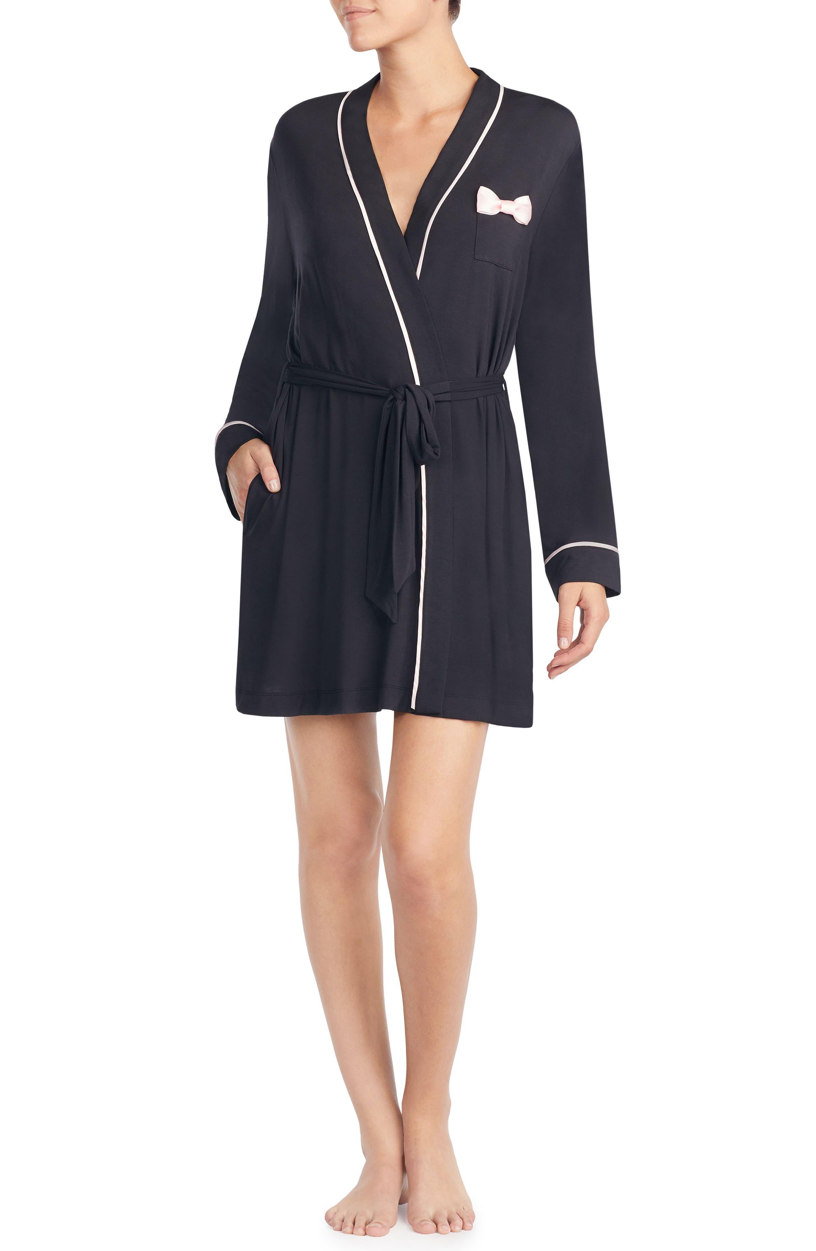 KATE SPADE NEW YORK, jersey short robe, Main thumbnail 1, color, BLACK