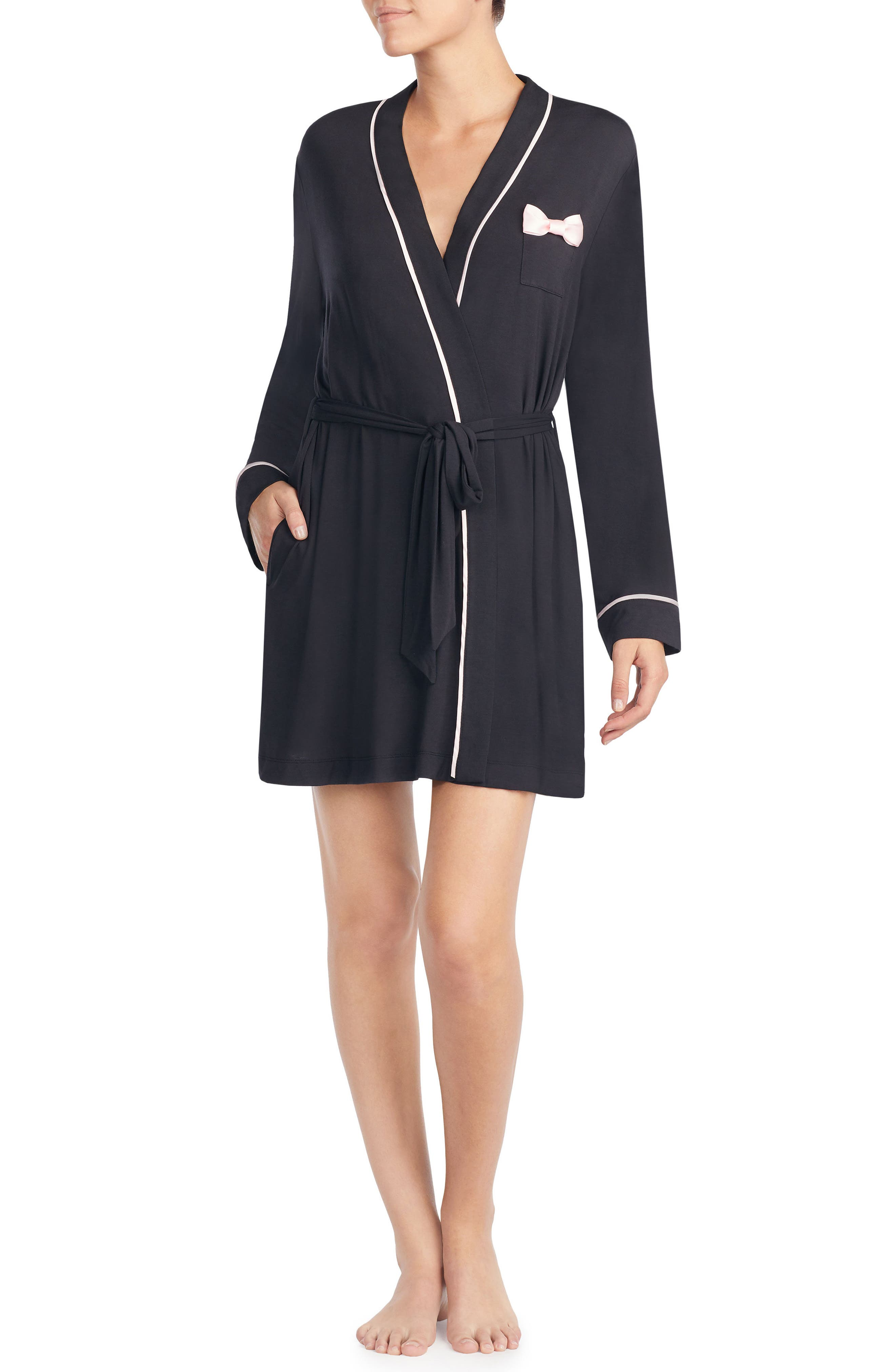 KATE SPADE NEW YORK jersey short robe, Main, color, BLACK