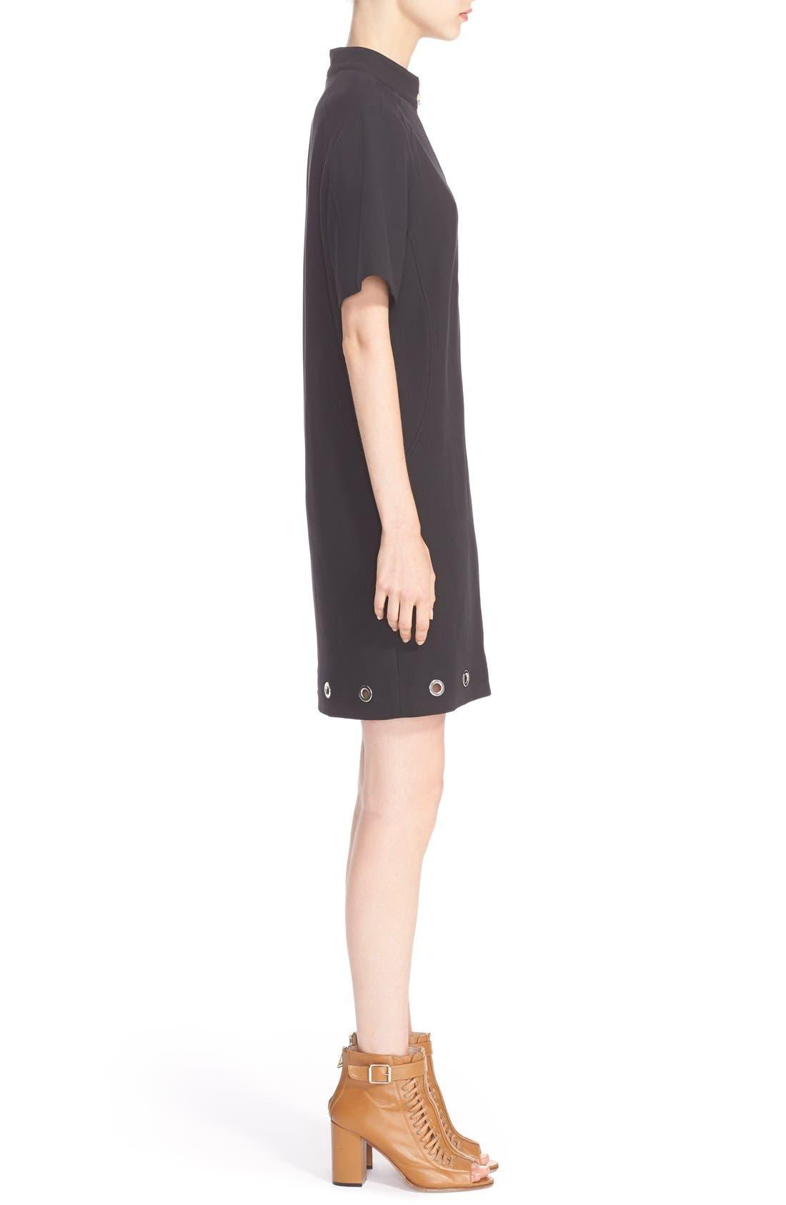 BELSTAFF, Grommet Detail Stretch Cotton Shift Dress, Alternate thumbnail 6, color, 001