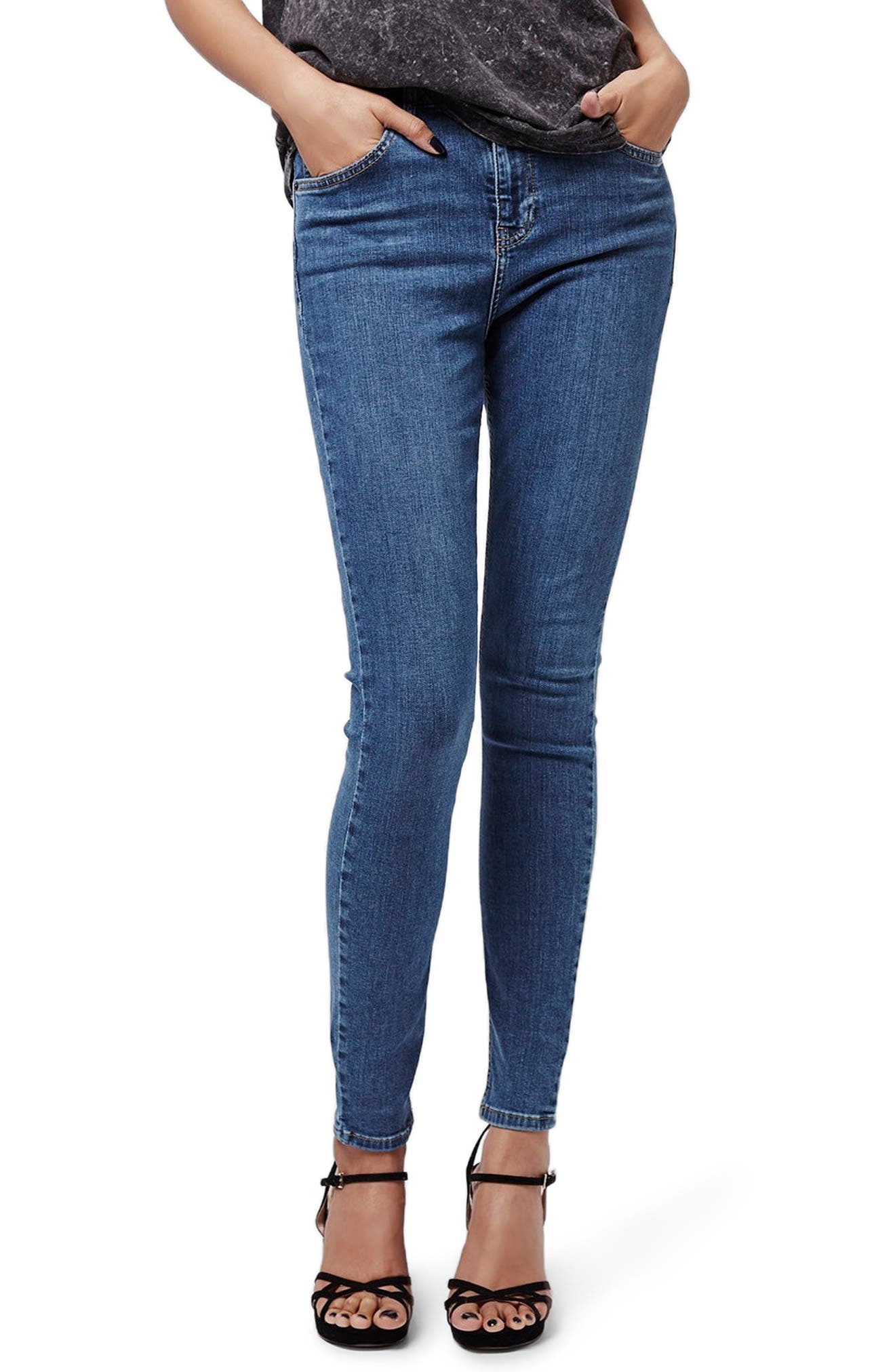 TOPSHOP, Jamie High Waist Skinny Jeans, Main thumbnail 1, color, MID BLUE