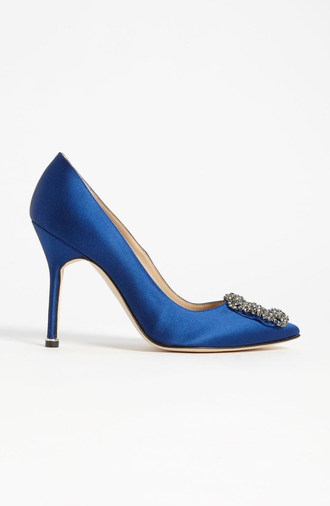 MANOLO BLAHNIK, 'Hangisi' Jewel Pump, Alternate thumbnail 4, color, BLUE SATIN