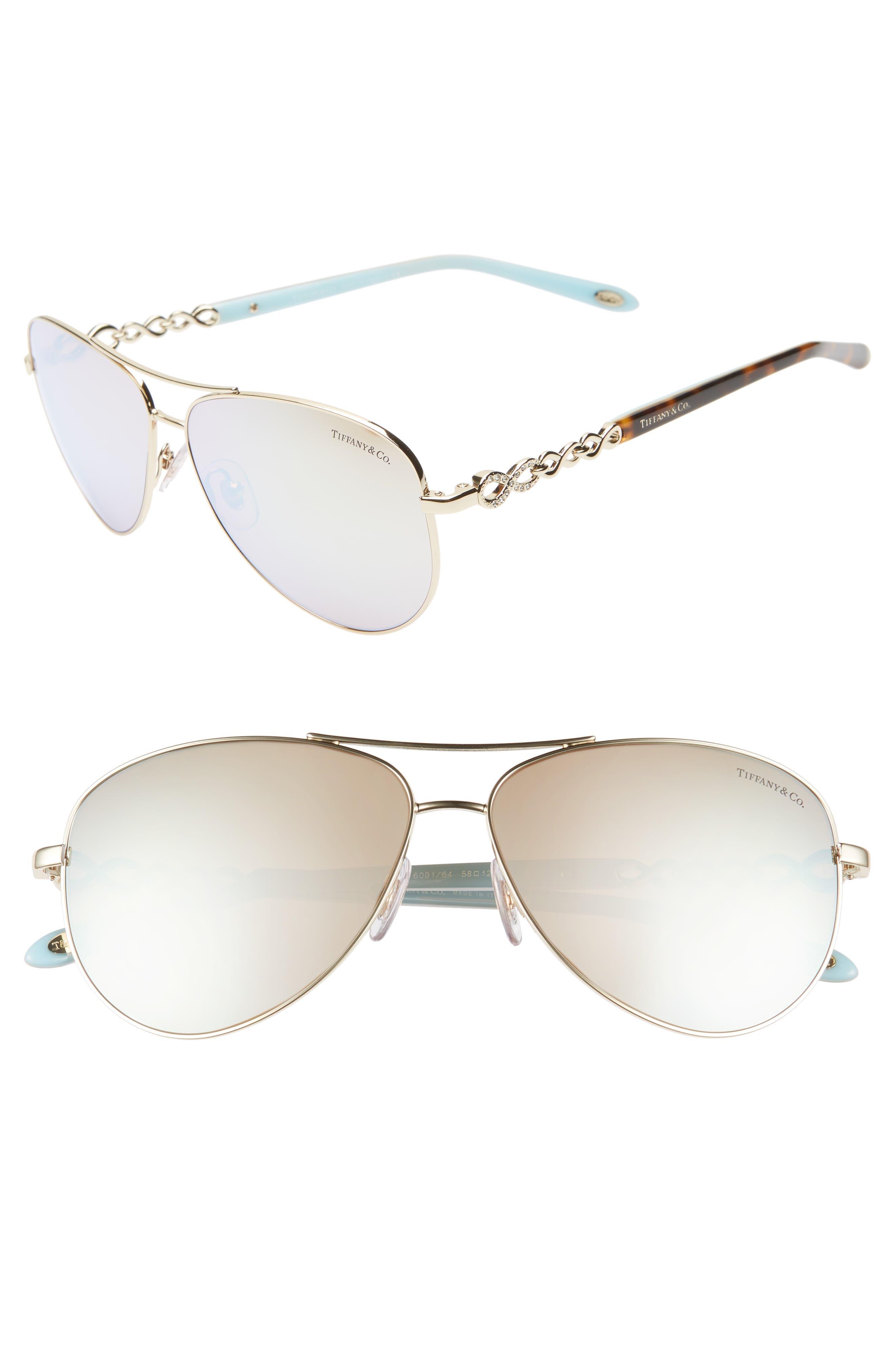 TIFFANY & CO., 58mm Aviator Sunglasses, Main thumbnail 1, color, GOLD/ WHITE MIRROR