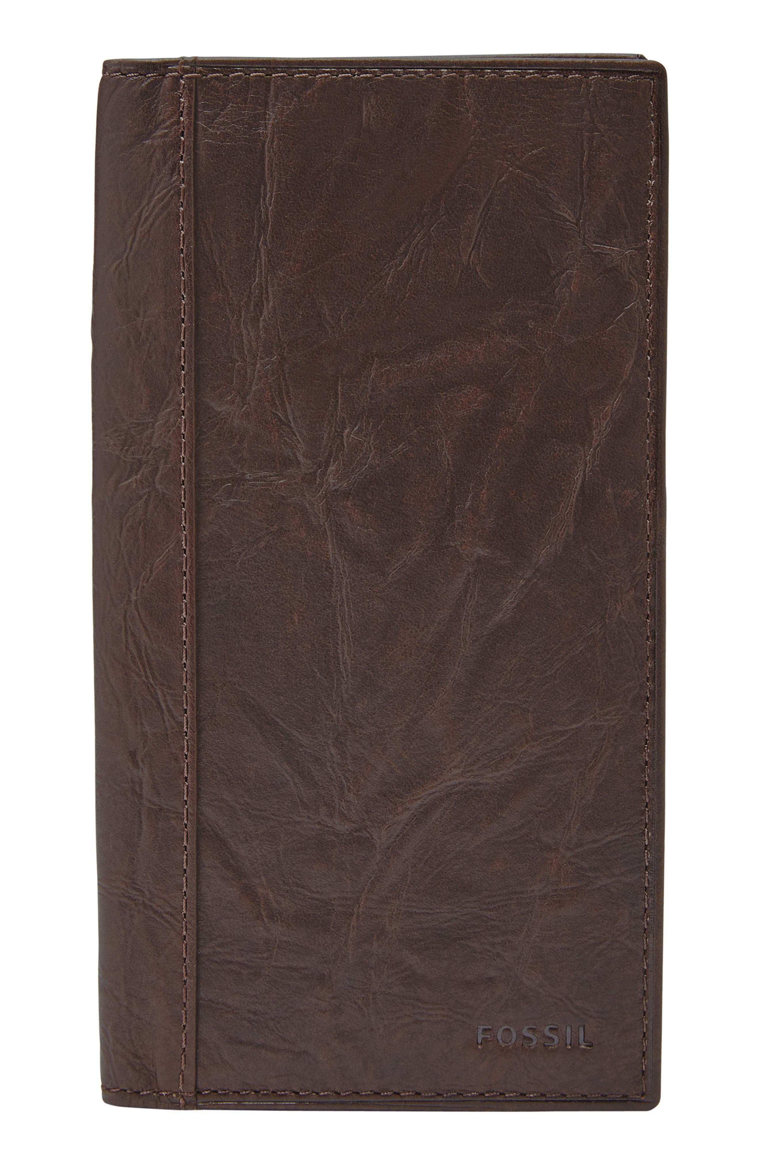 FOSSIL Neel Leather Executive Wallet, Main, color, BROWN