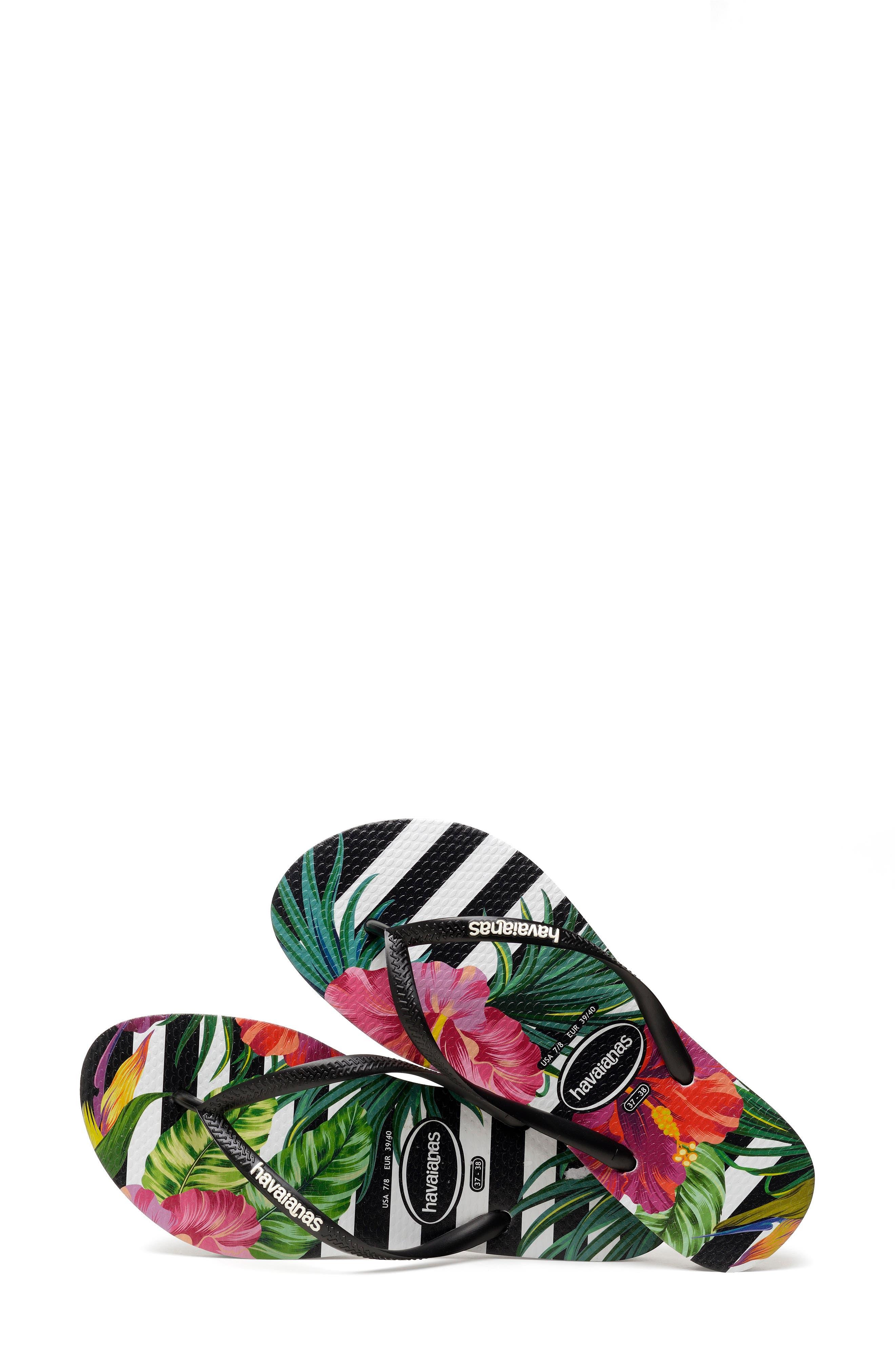 HAVAIANAS, Slim Tropical Floral Flip Flop, Alternate thumbnail 7, color, BLACK/ WHITE