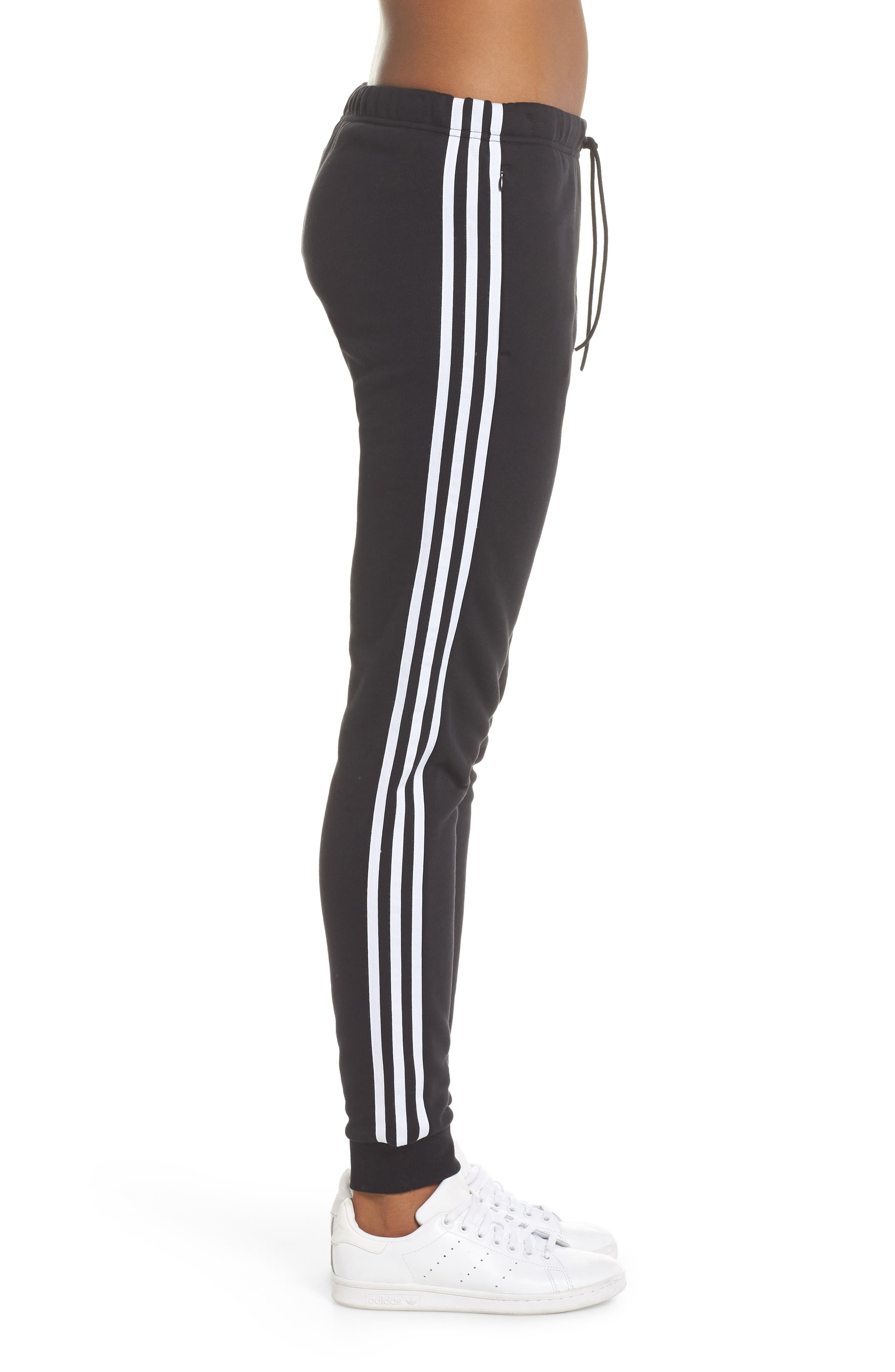ADIDAS ORIGINALS, Cuffed Track Pants, Alternate thumbnail 4, color, BLACK