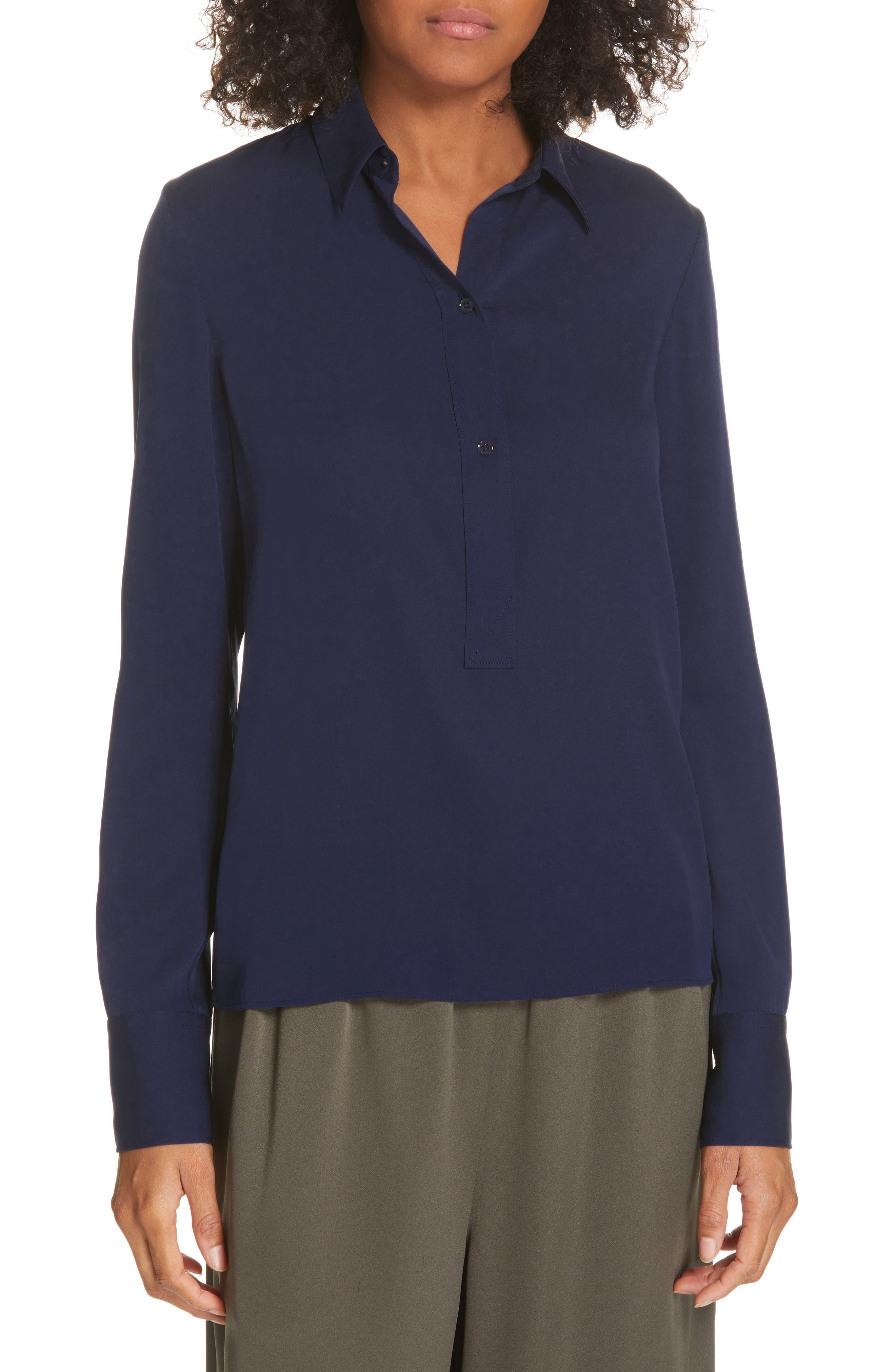 VINCE, Slim Fitted Popover Shirt, Main thumbnail 1, color, HYDRA